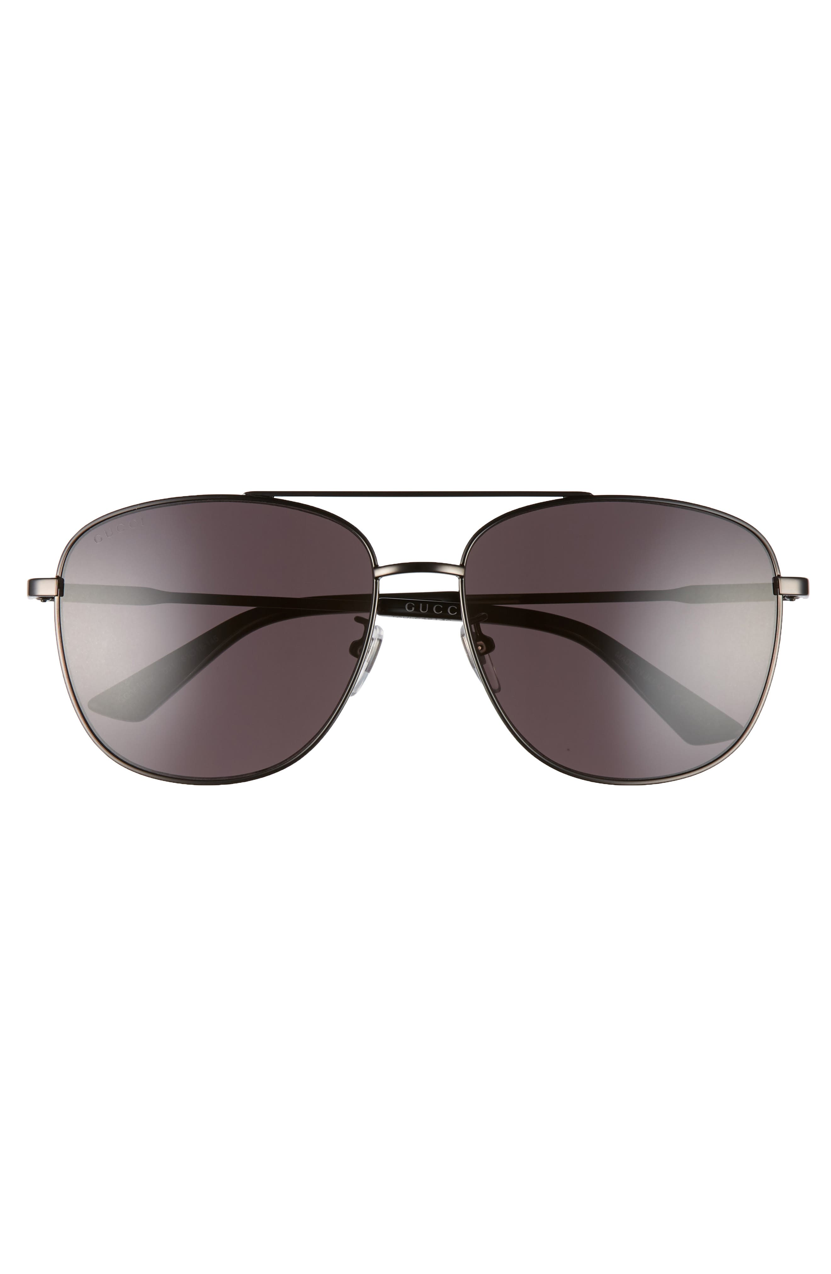 GUCCI, Navigator 61mm Aviator Sunglasses, Alternate thumbnail 2, color, RUTHENIUM