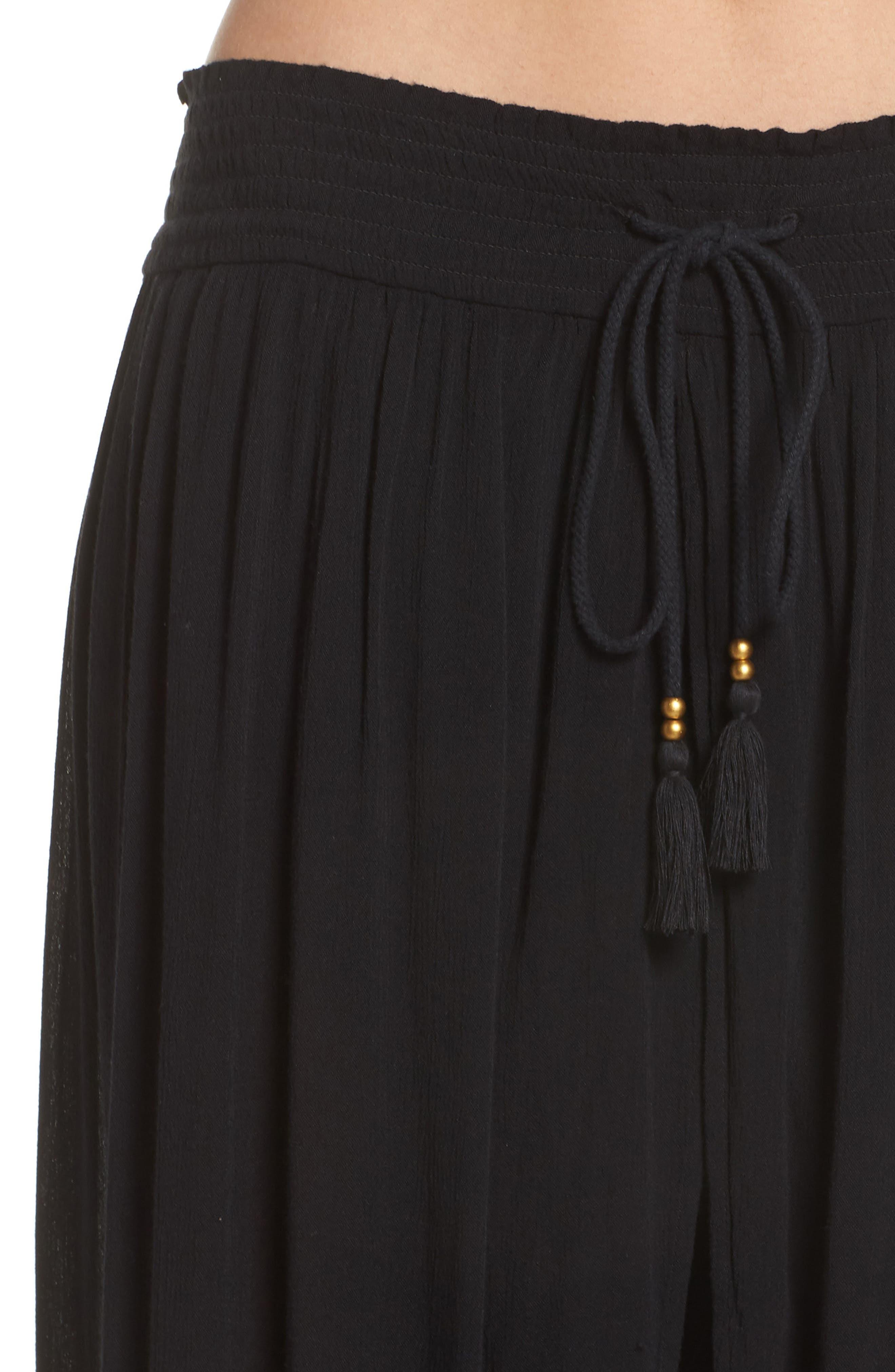 CHELSEA28, Gauze Cover-Up Pants, Alternate thumbnail 4, color, BLACK