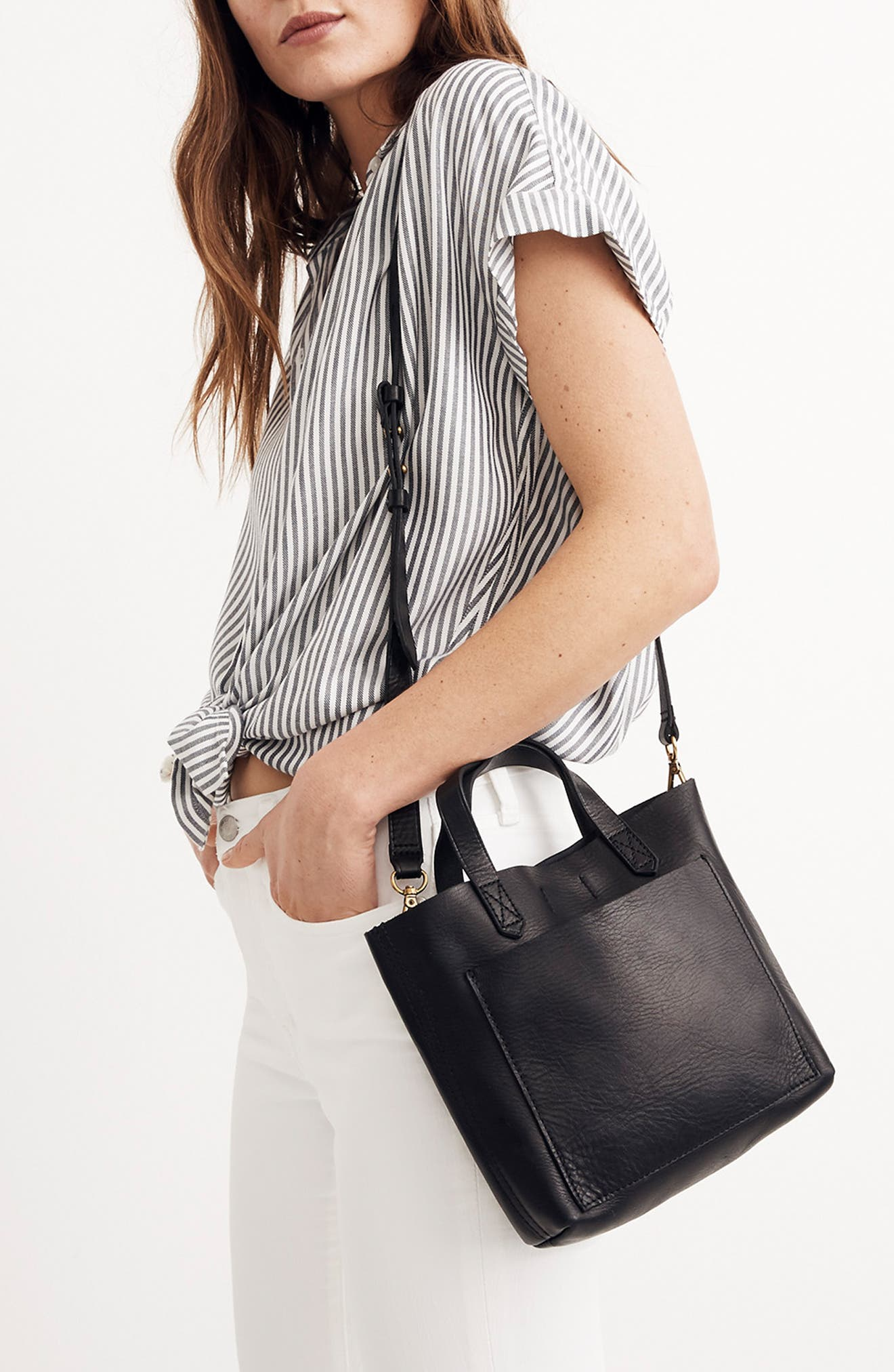 MADEWELL, Small Transport Leather Crossbody, Alternate thumbnail 2, color, 001