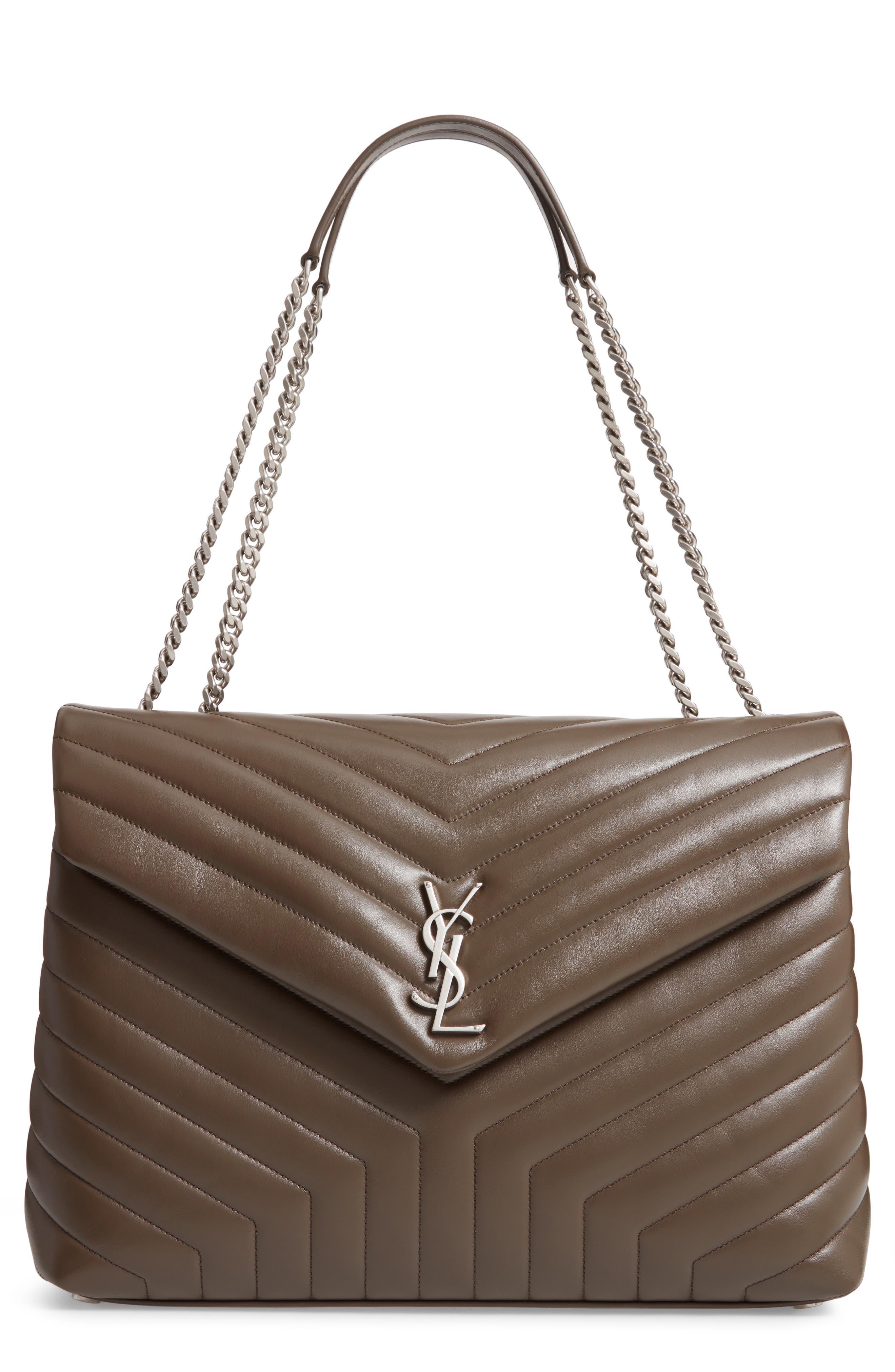 SAINT LAURENT, Large Loulou Matelassé Leather Shoulder Bag, Main thumbnail 1, color, FAGGIO/ FAGGIO