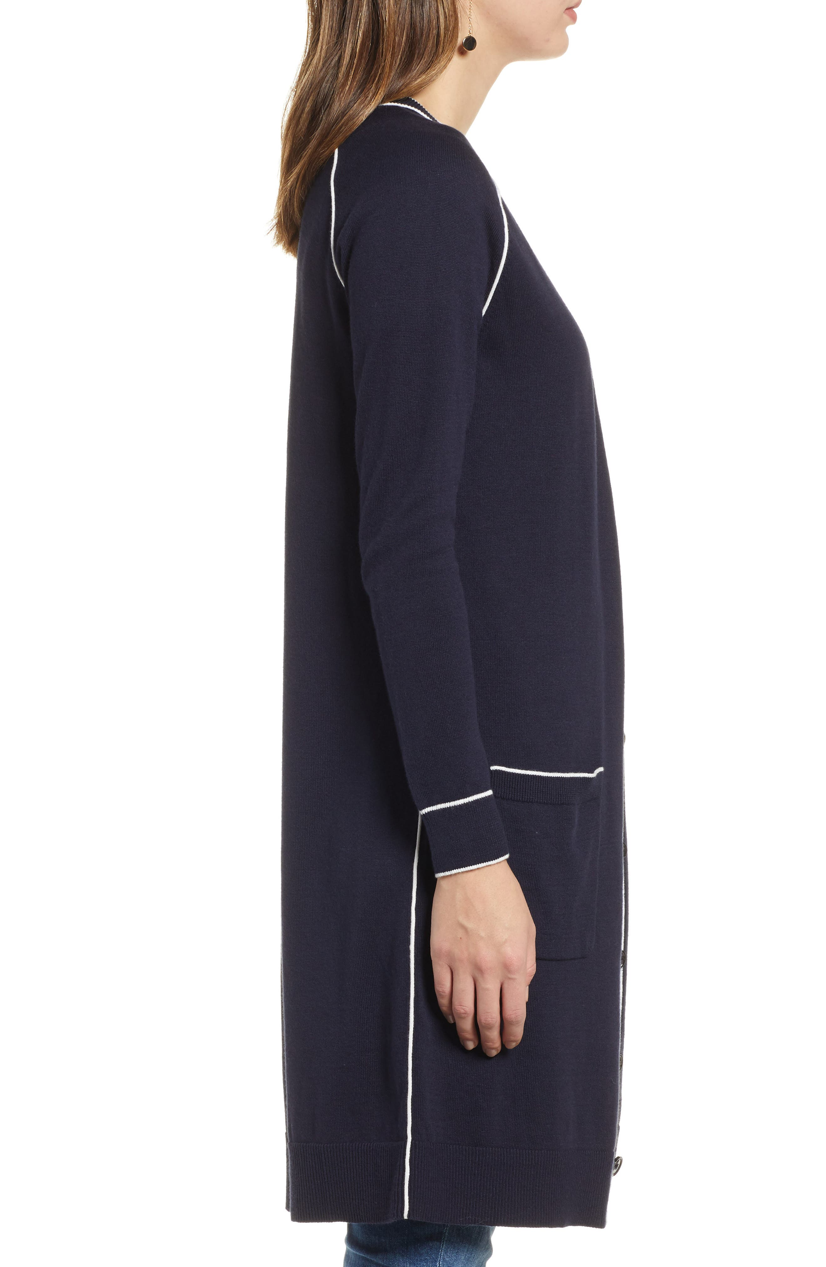 1901, Longline Cardigan, Alternate thumbnail 3, color, 410