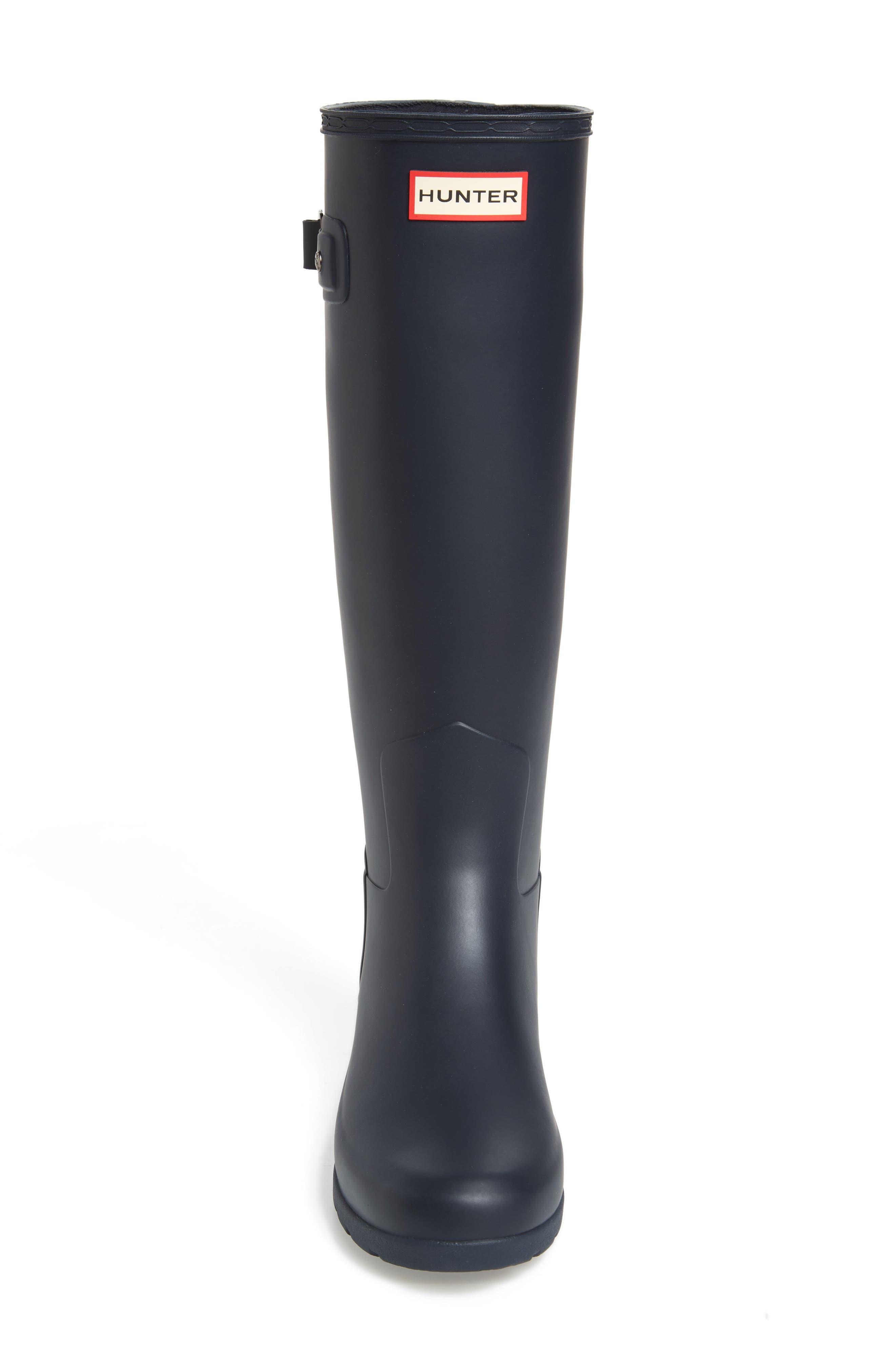 HUNTER, Original Refined Waterproof Rain Boot, Alternate thumbnail 4, color, NAVY