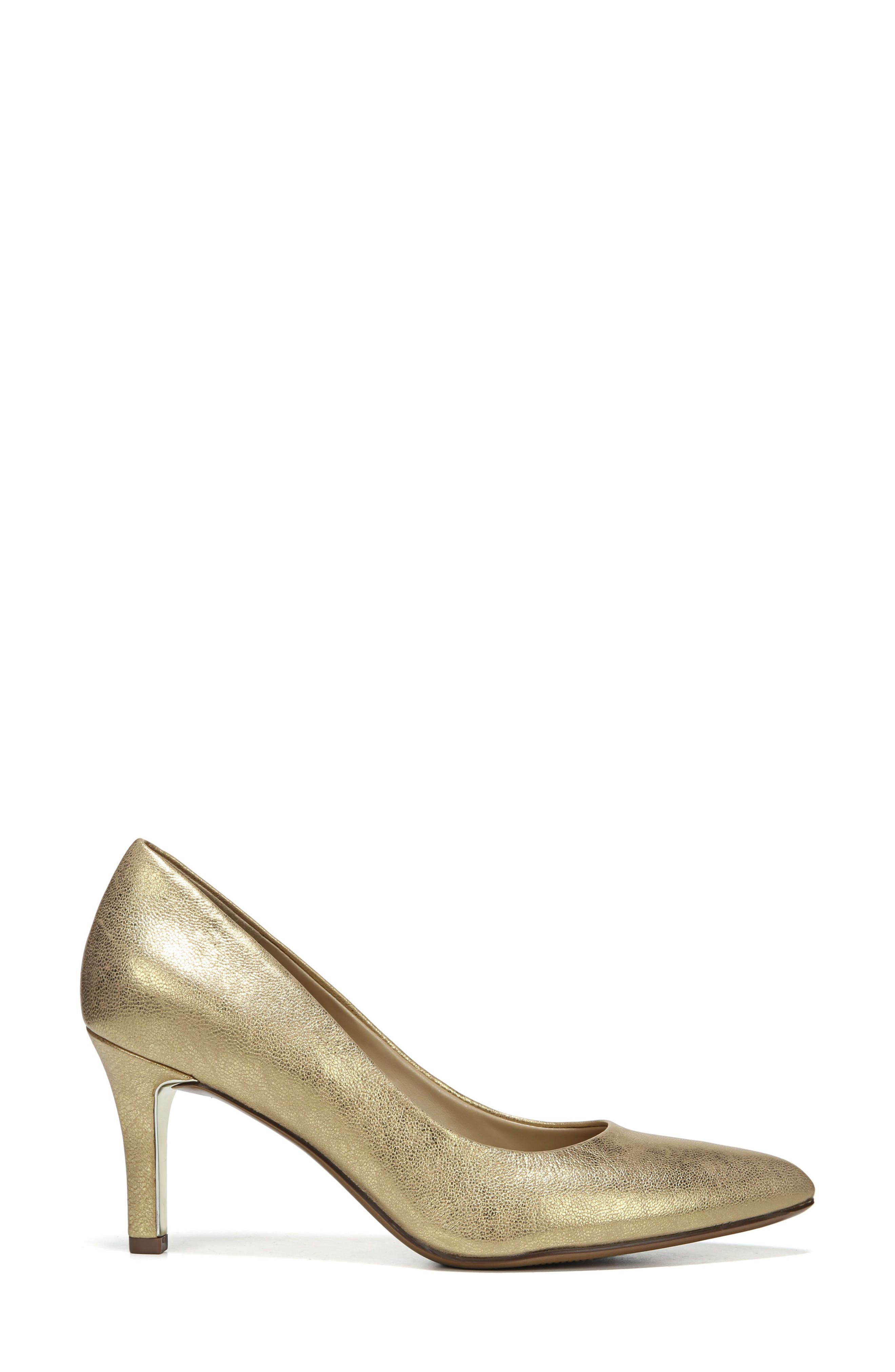 NATURALIZER, Natalie Pointy Toe Pump, Alternate thumbnail 3, color, GOLD LEATHER