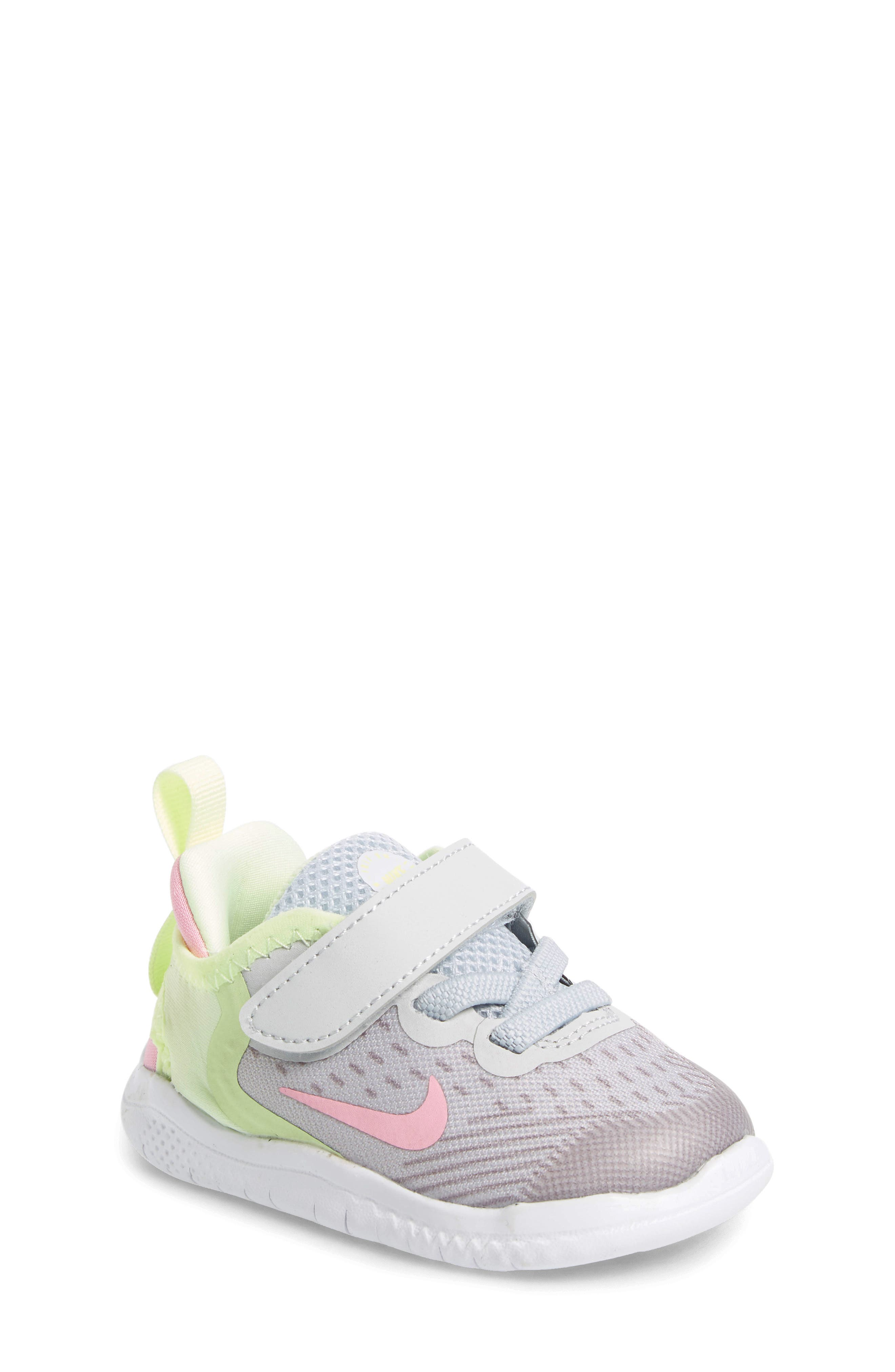 NIKE, Free RN Running Shoe, Main thumbnail 1, color, PURE PLATINUM/ PINK RISE-VOLT