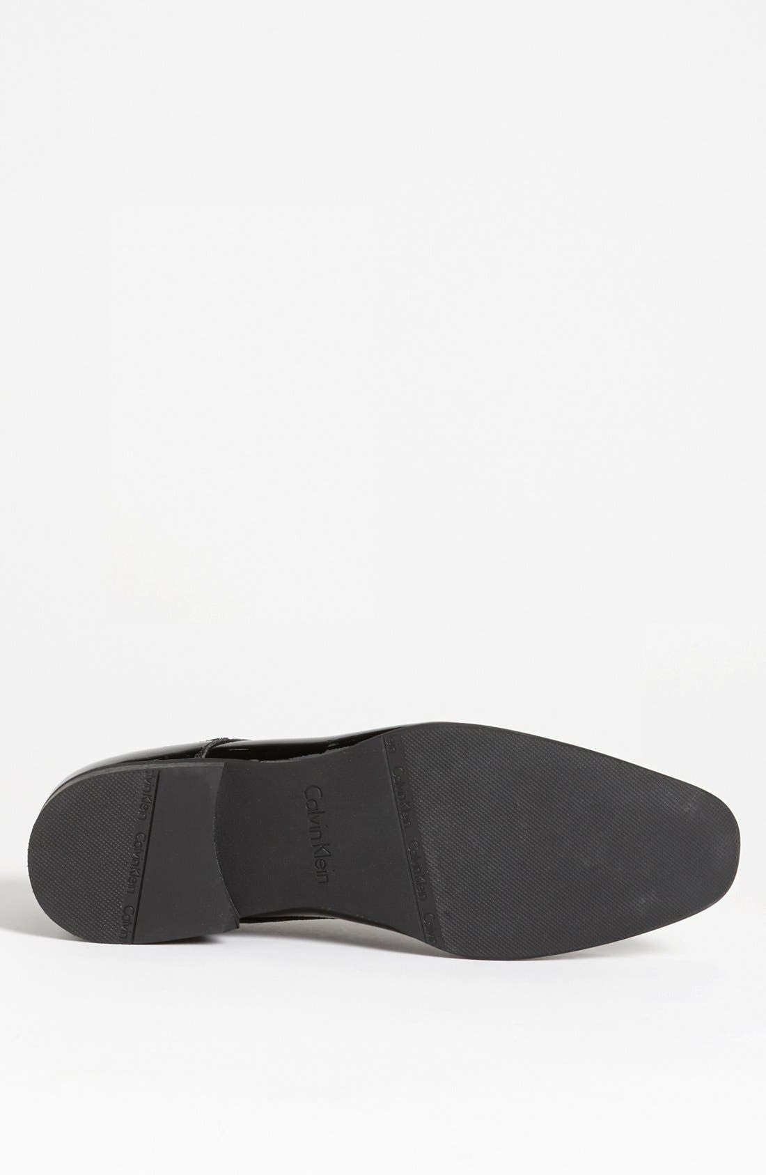 CALVIN KLEIN, 'Brodie' Plain Toe Derby, Alternate thumbnail 4, color, BLACK PATENT