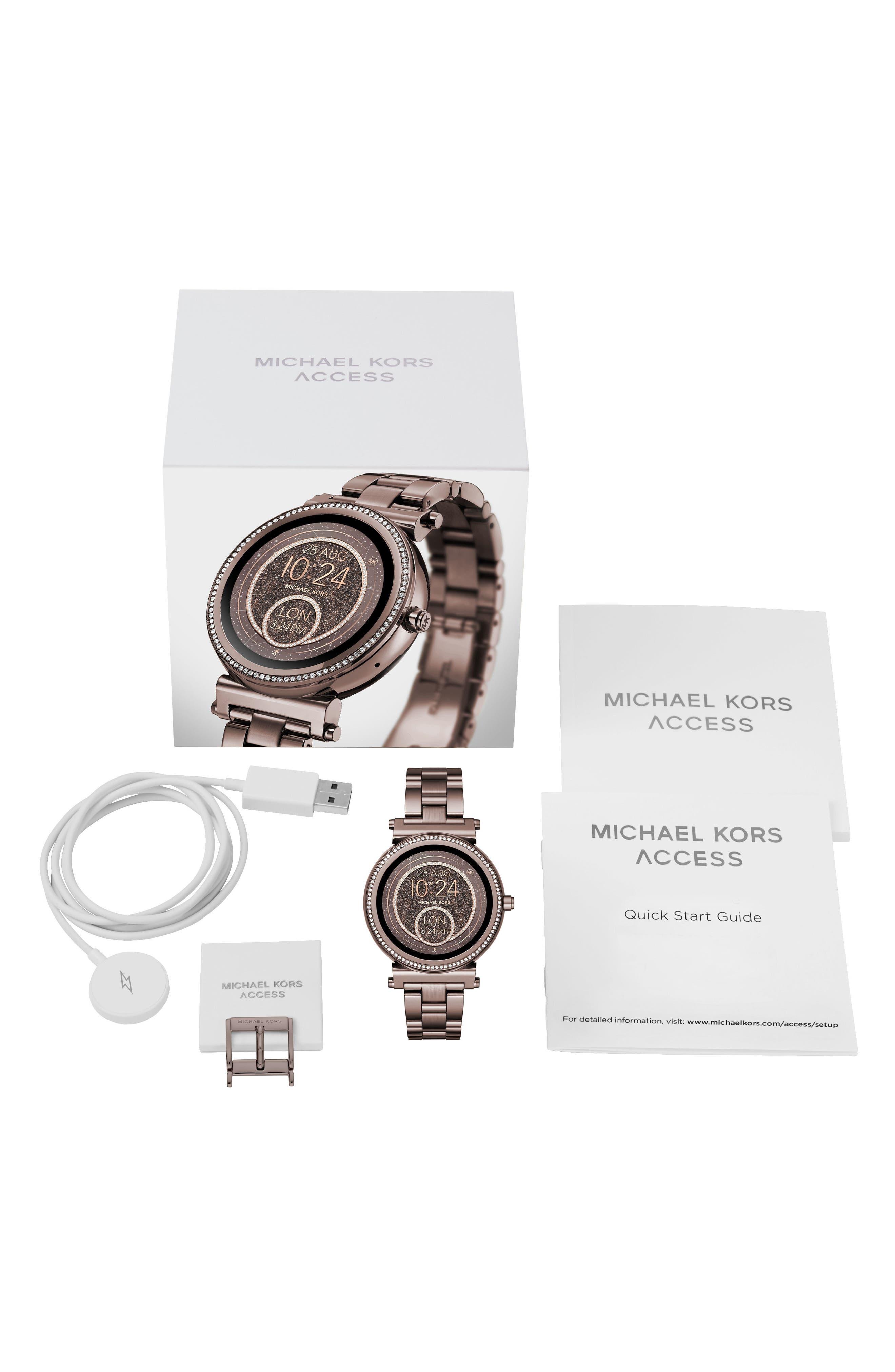 MICHAEL KORS ACCESS, Sofie Smart Bracelet Watch, 42mm, Alternate thumbnail 4, color, SABLE