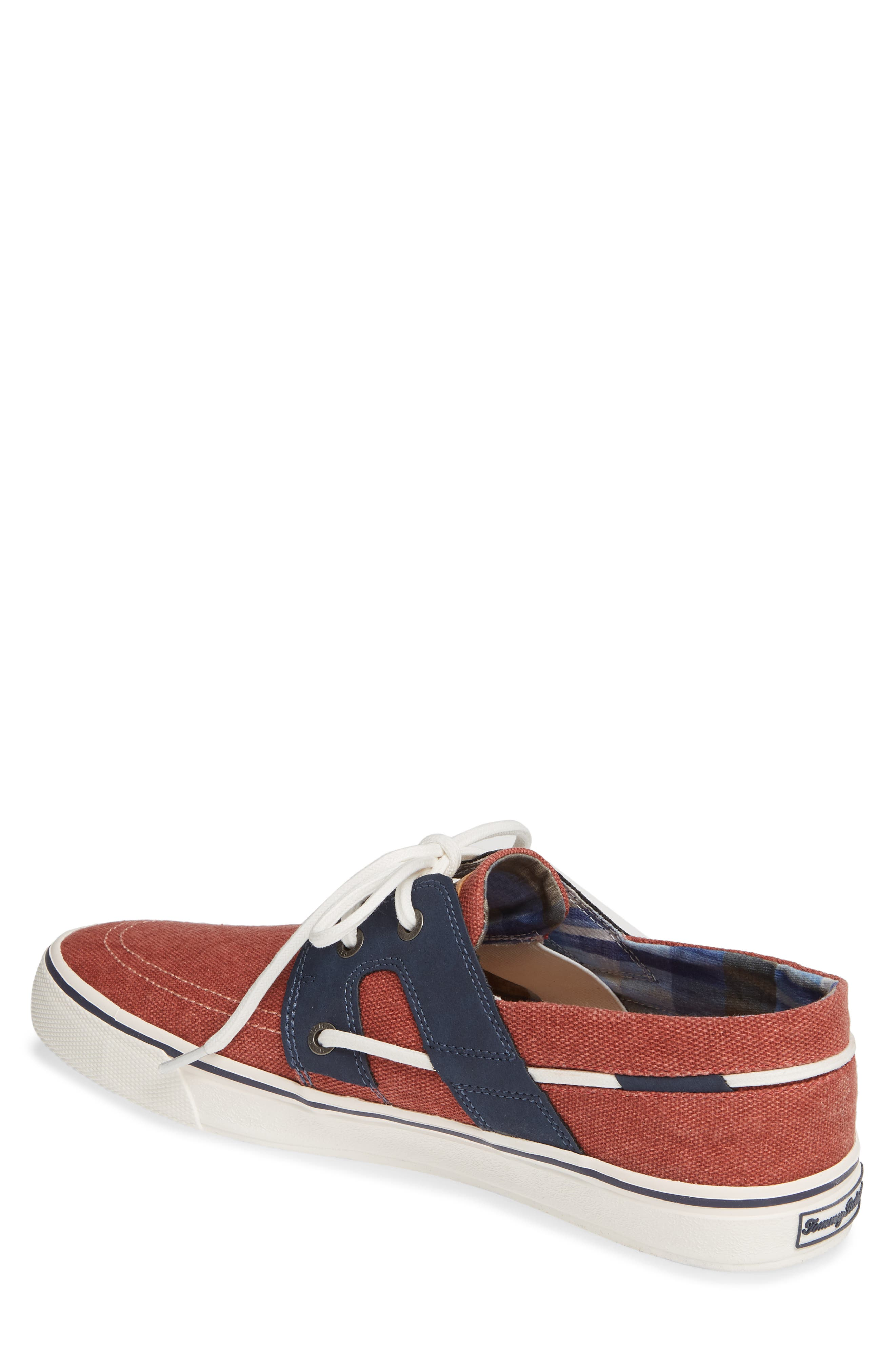 TOMMY BAHAMA, Stripe Breaker Sneaker, Alternate thumbnail 2, color, RED WASHED CANVAS/ LEATHER
