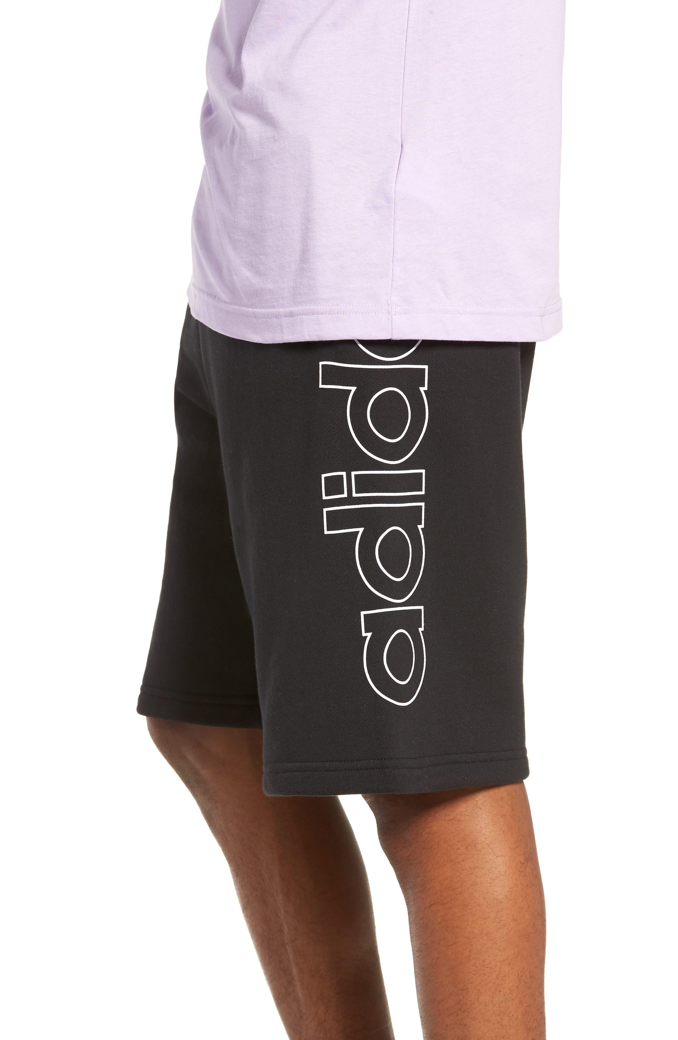 ADIDAS ORIGINALS, FT OTLN Athletic Shorts, Alternate thumbnail 4, color, BLACK/ WHITE