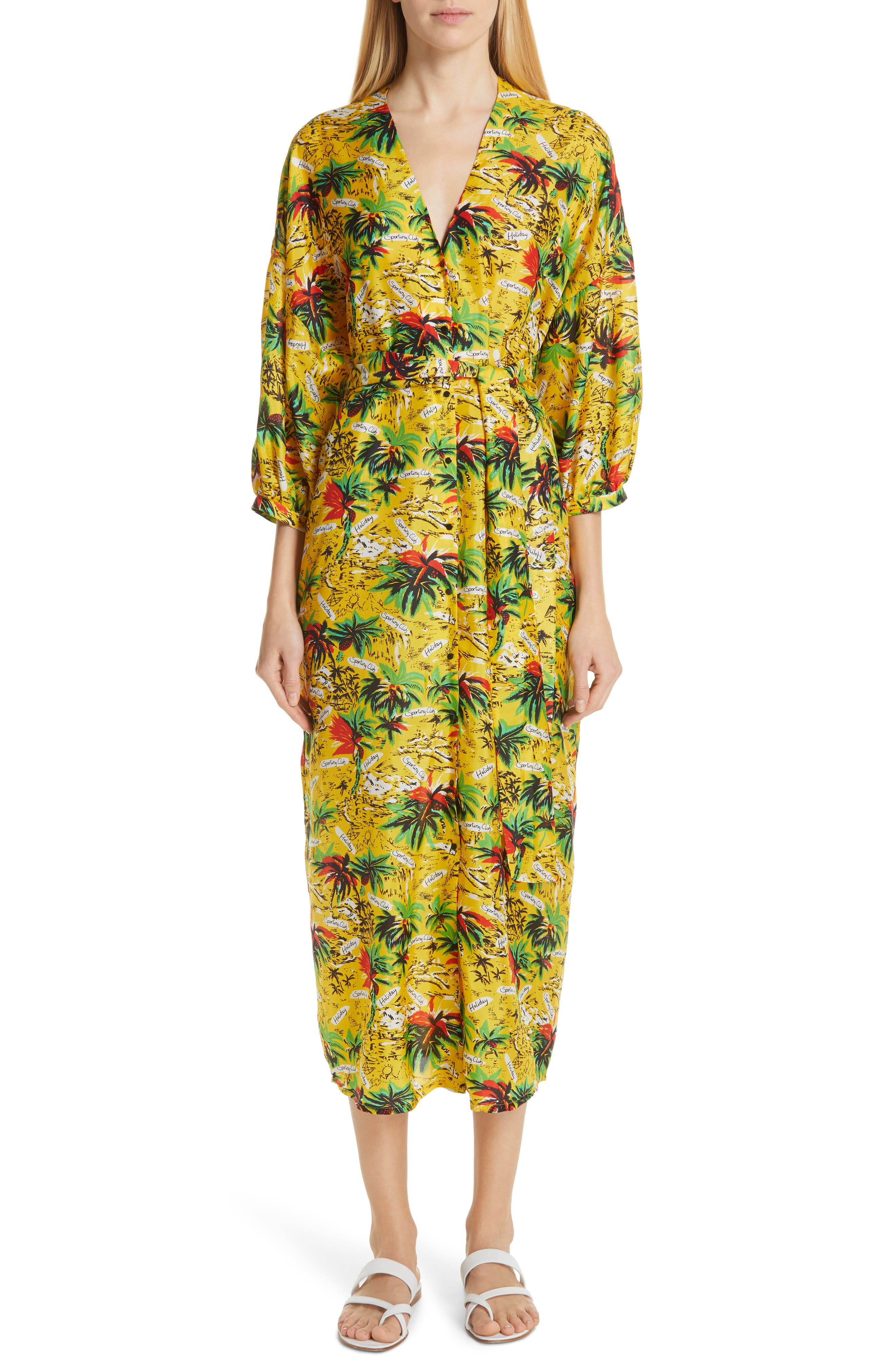 Roseanna Tropical Print Silk Midi Dress, Yellow