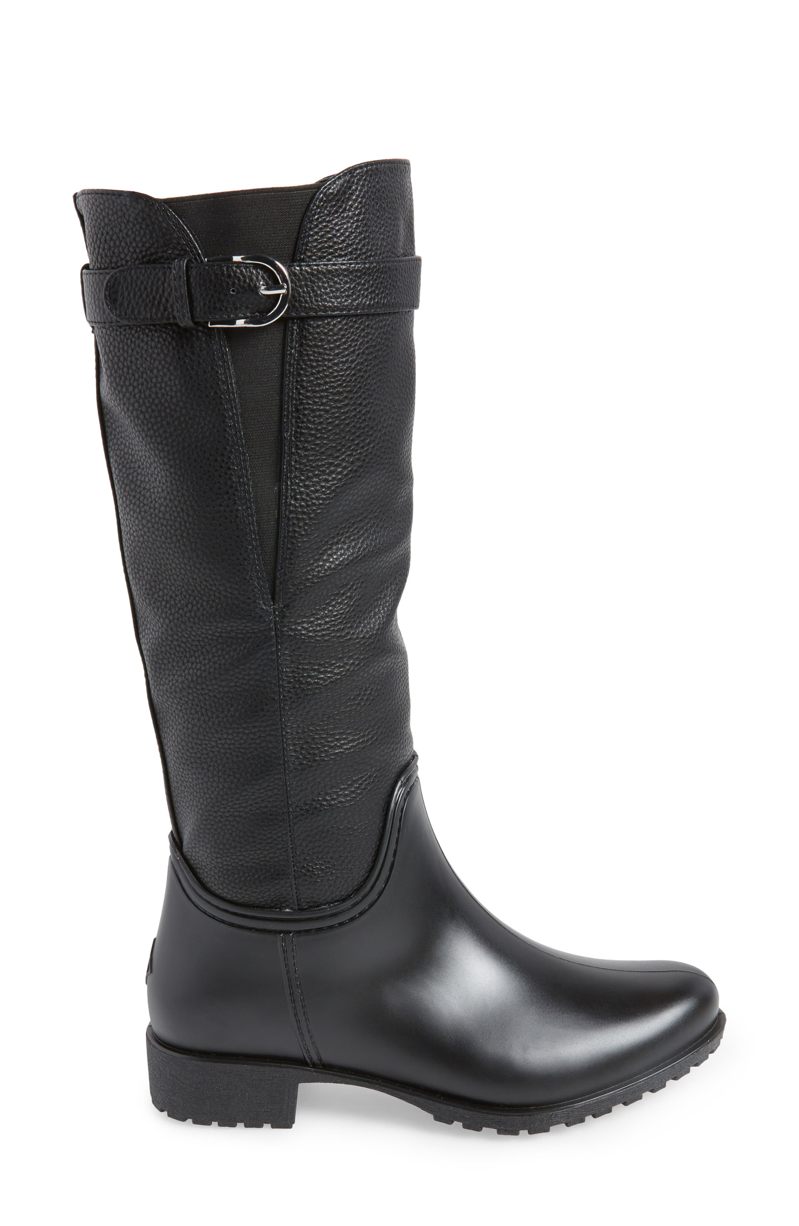 DÄV, Dunkirk Water Resistant Boot, Alternate thumbnail 3, color, BLACK
