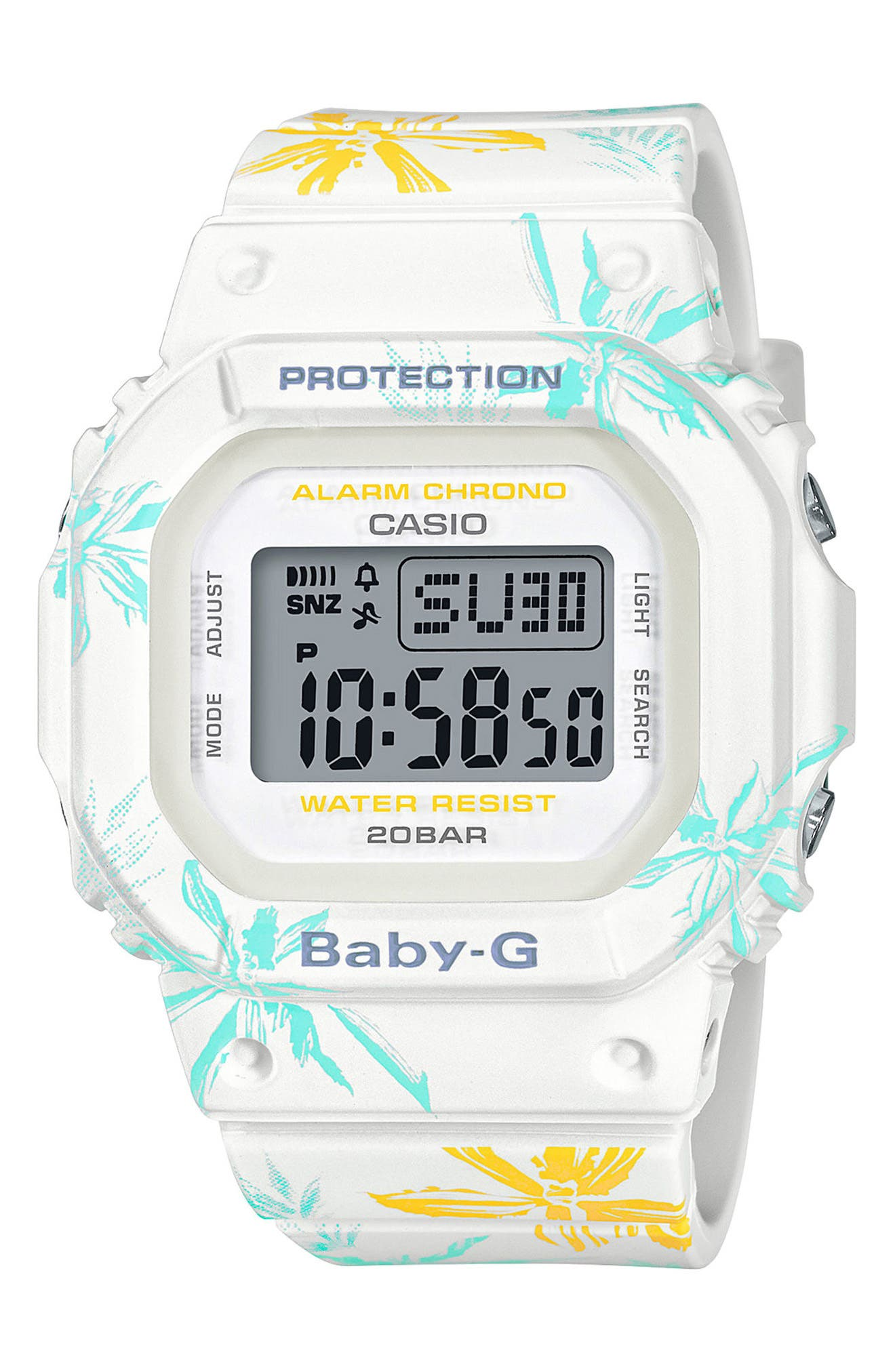 G-SHOCK BABY-G, Baby-G Digital Resin Watch, 40mm, Main thumbnail 1, color, FLORAL/ WHITE