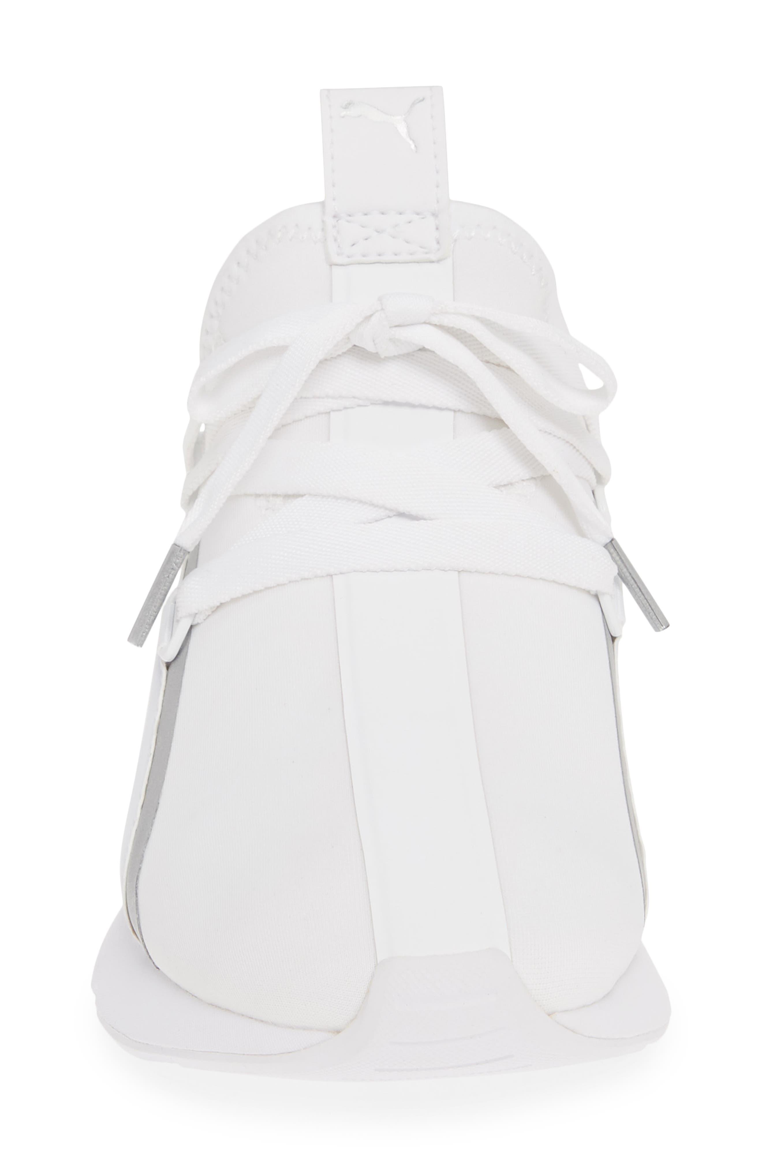 PUMA, Muse 2 Trailblazer Sneaker, Alternate thumbnail 4, color, WHITE/ SILVER