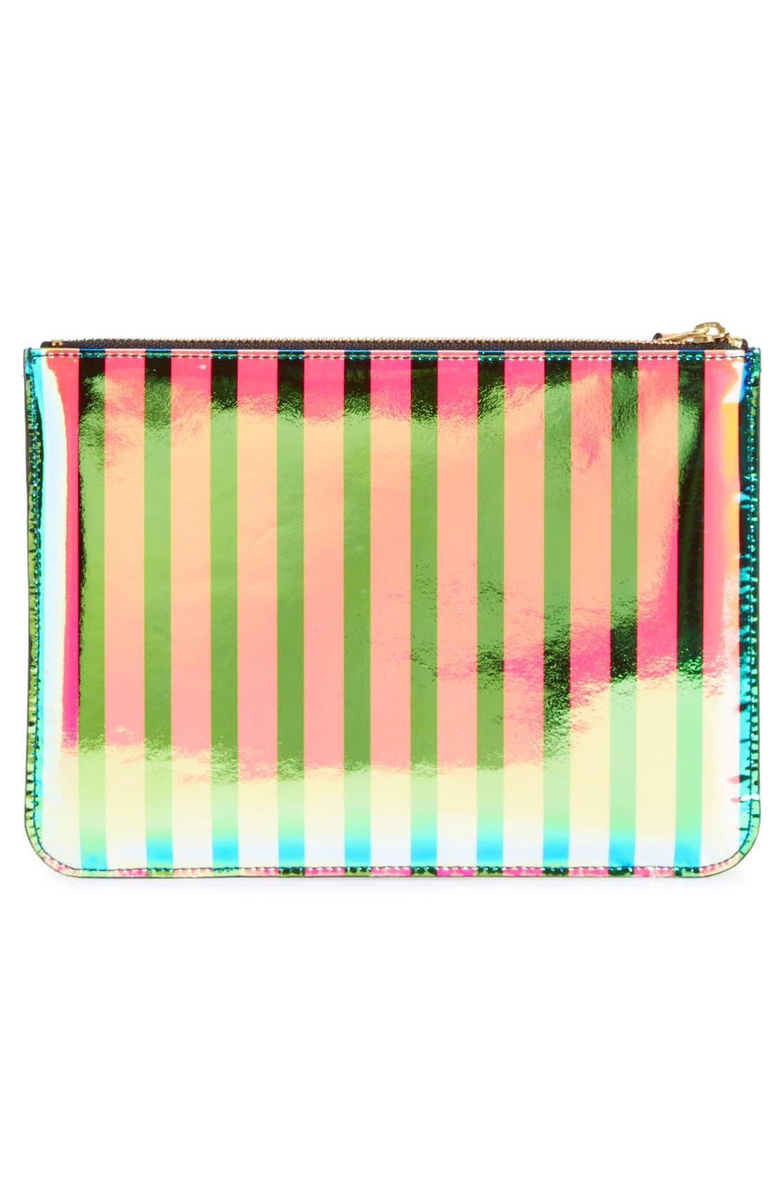 COMME DES GARÇONS, 'Crazy Stripes' Leather Pouch, Alternate thumbnail 3, color, 650