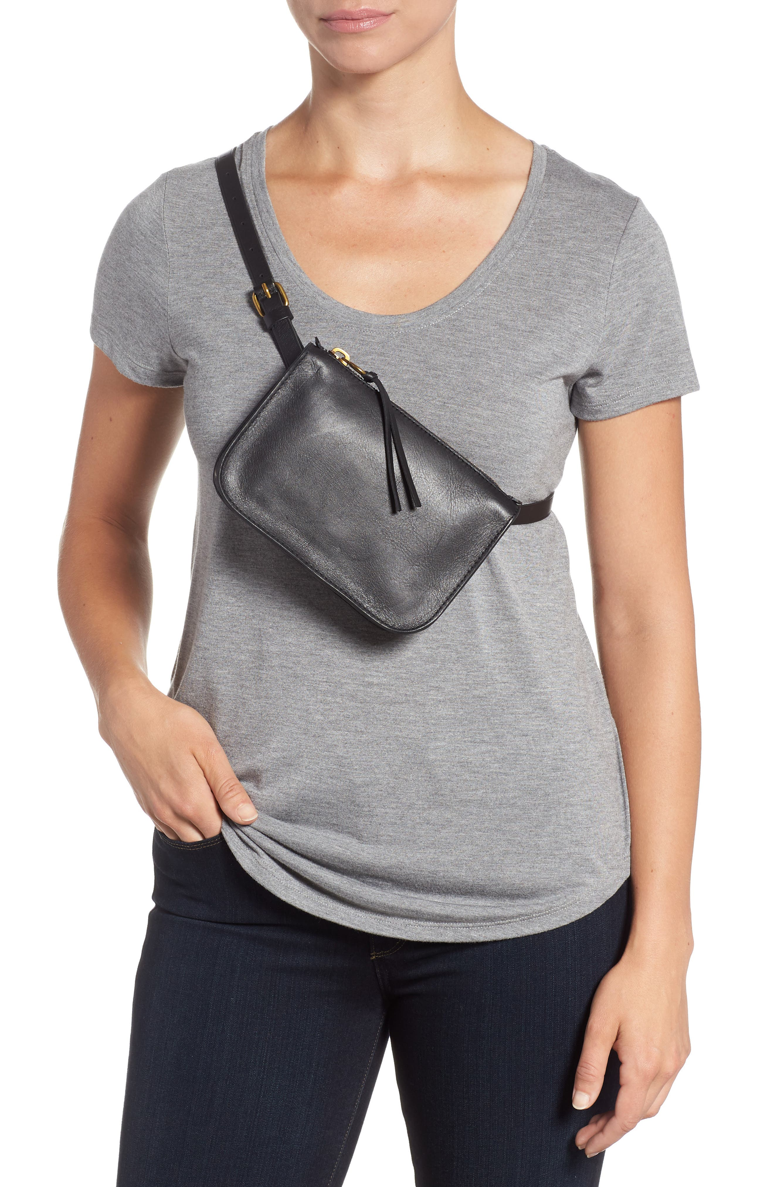 MADEWELL, The Simple Pouch Belt Bag, Alternate thumbnail 3, color, TRUE BLACK