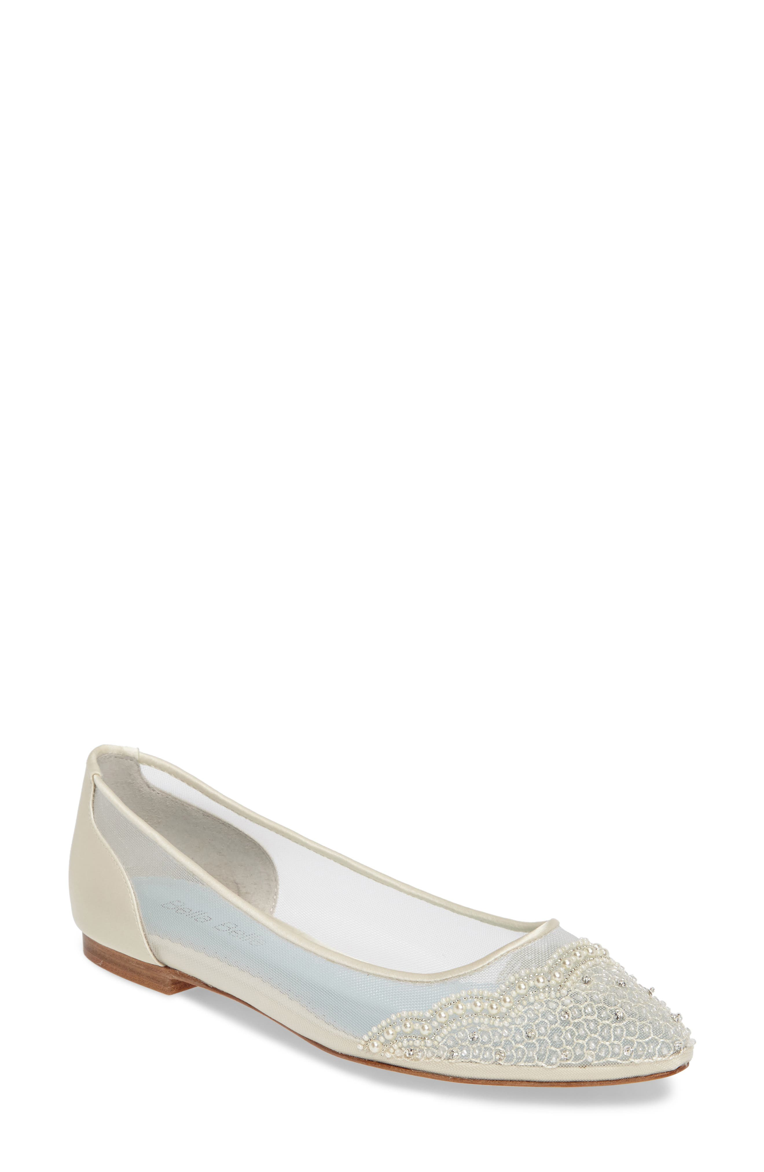 BELLA BELLE Hailey Skimmer Flat, Main, color, IVORY FABRIC