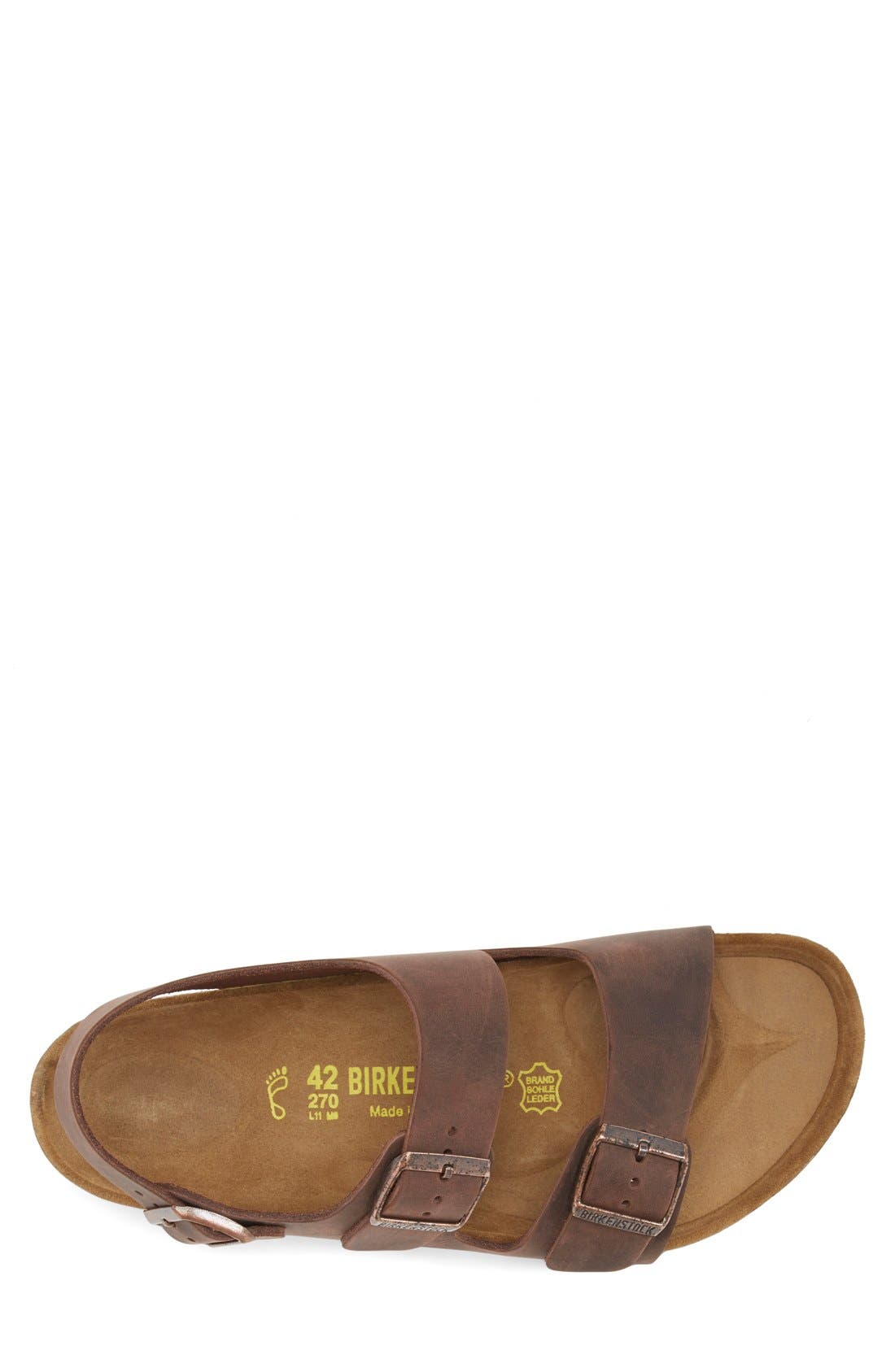 BIRKENSTOCK, 'Milano' Sandal, Alternate thumbnail 3, color, HABANA OILED