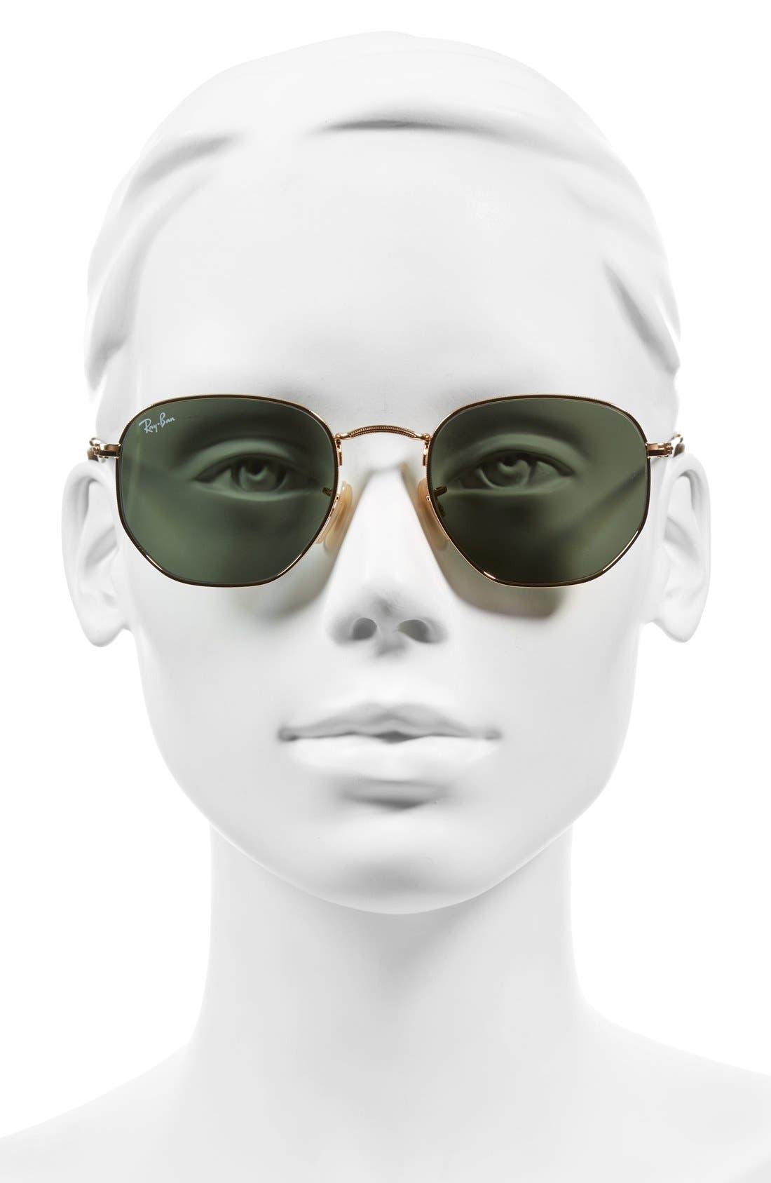 RAY-BAN, 51mm Hexagonal Flat Lens Sunglasses, Alternate thumbnail 2, color, METAL GOLD/ GREEN