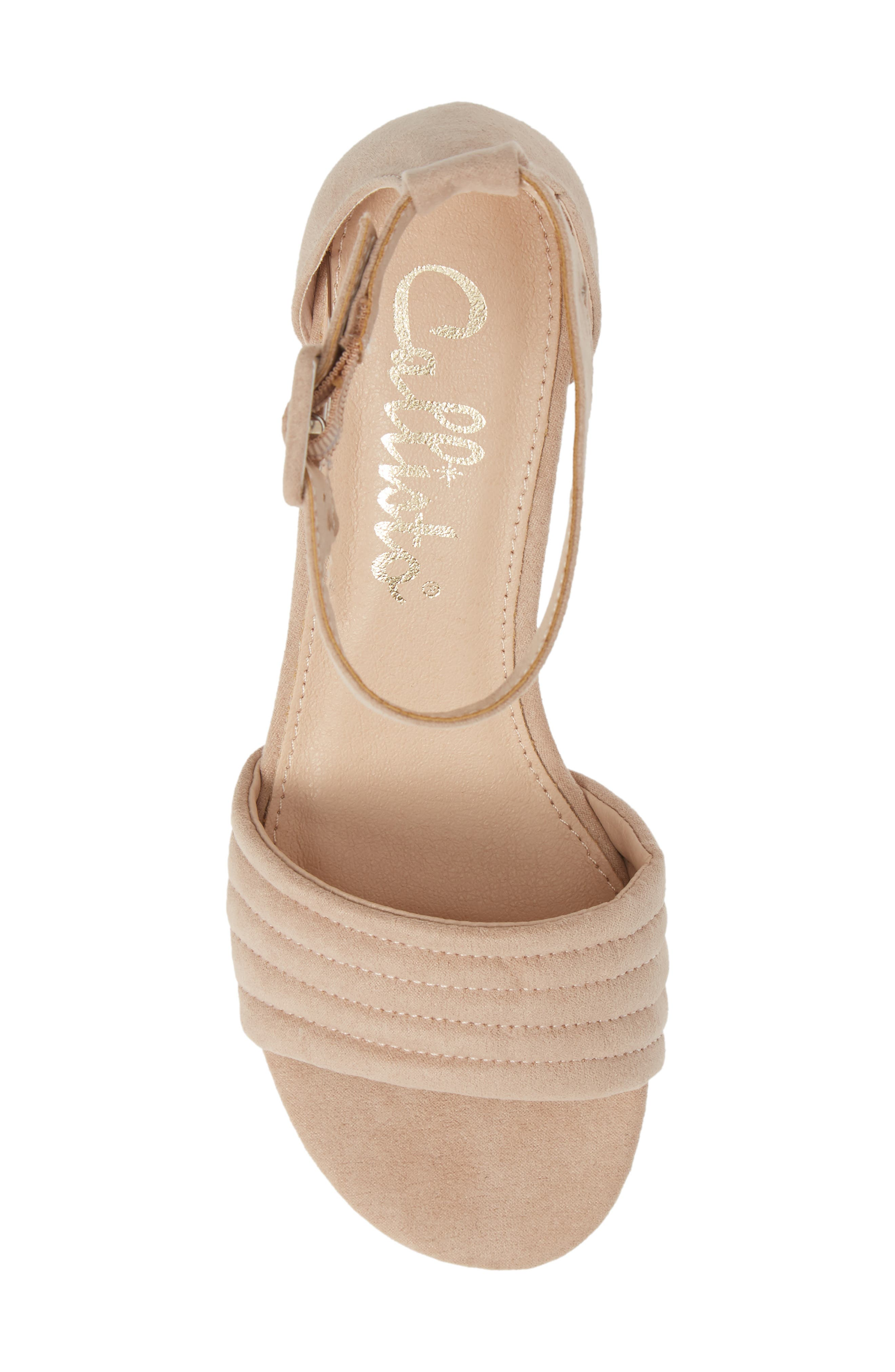 CALLISTO, Puffye Ankle Strap Sandal, Alternate thumbnail 5, color, BLUSH SUEDE SYNTHETIC