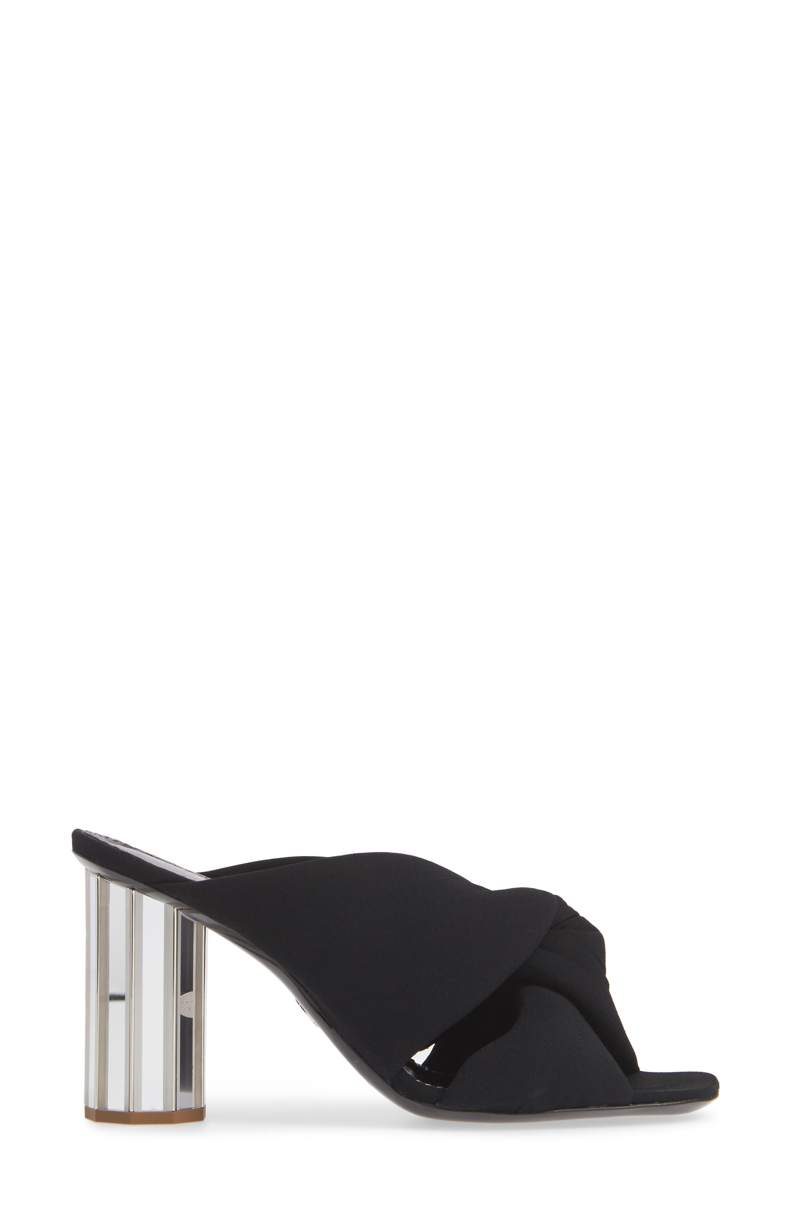PROENZA SCHOULER, Knotted Slide Sandal, Alternate thumbnail 3, color, BLACK
