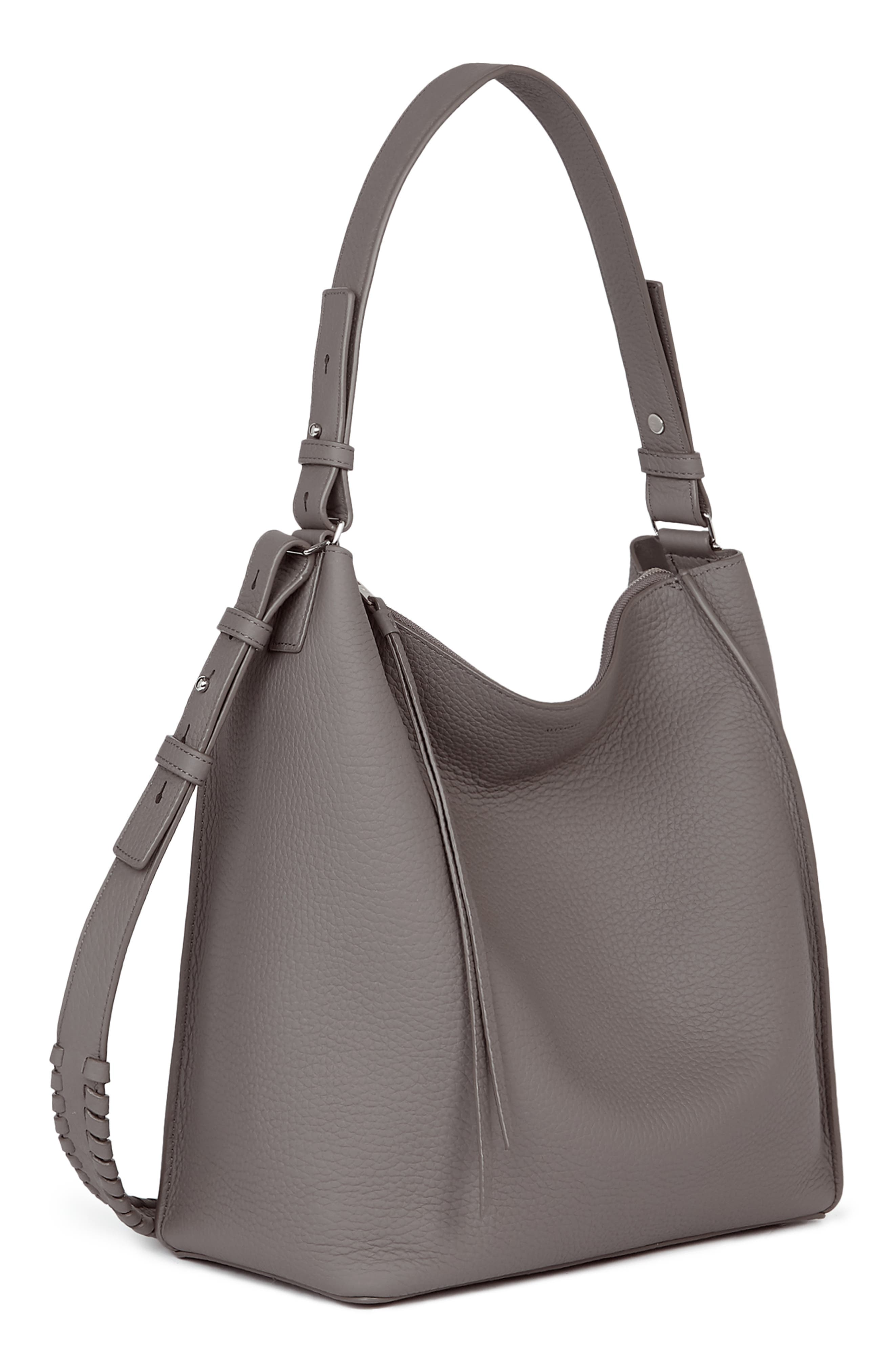 ALLSAINTS, 'Kita' Leather Shoulder/Crossbody Bag, Alternate thumbnail 6, color, STORM GREY