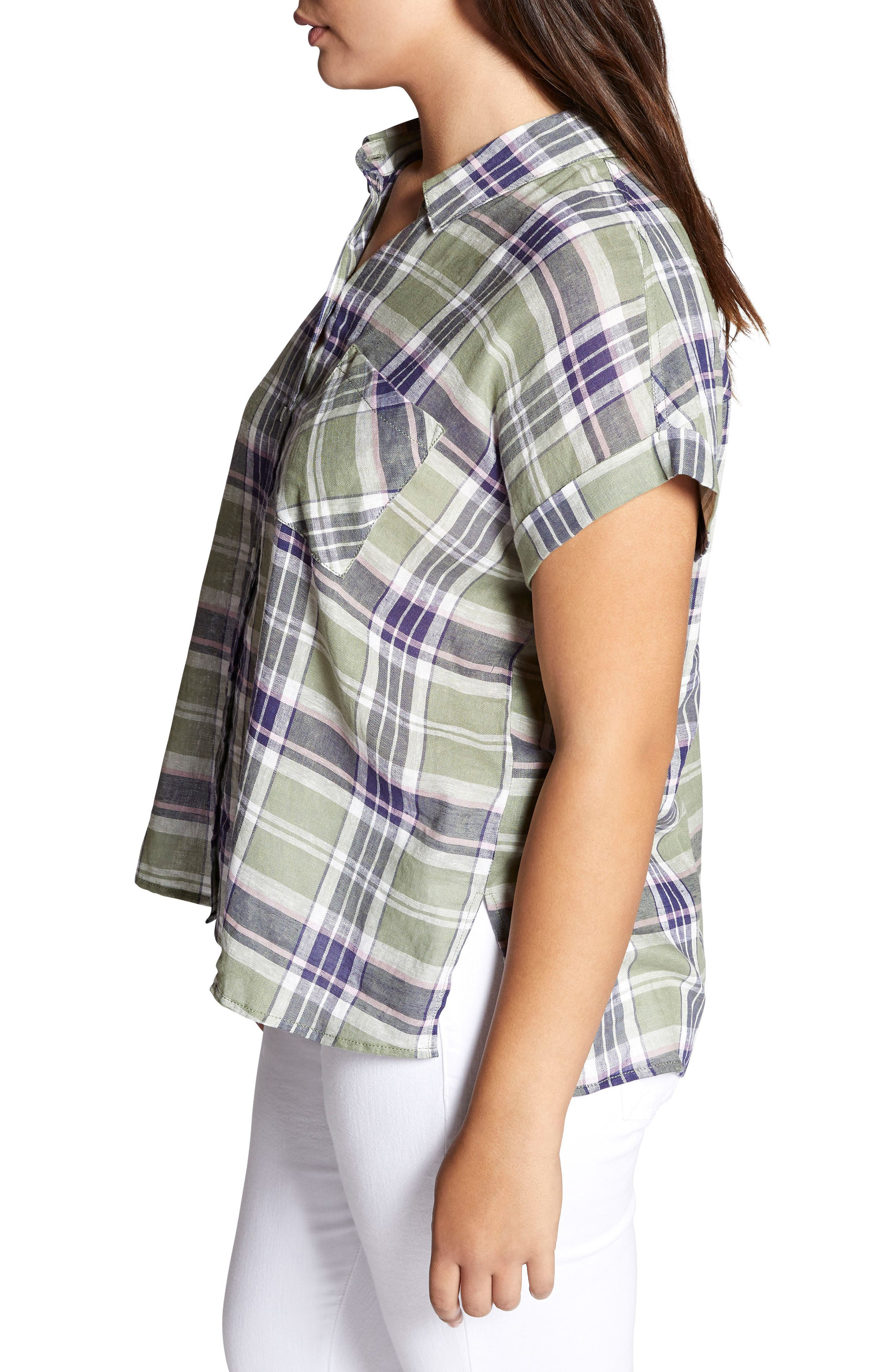 SANCTUARY, Mod Short Sleeve Boyfriend Shirt, Alternate thumbnail 3, color, 658