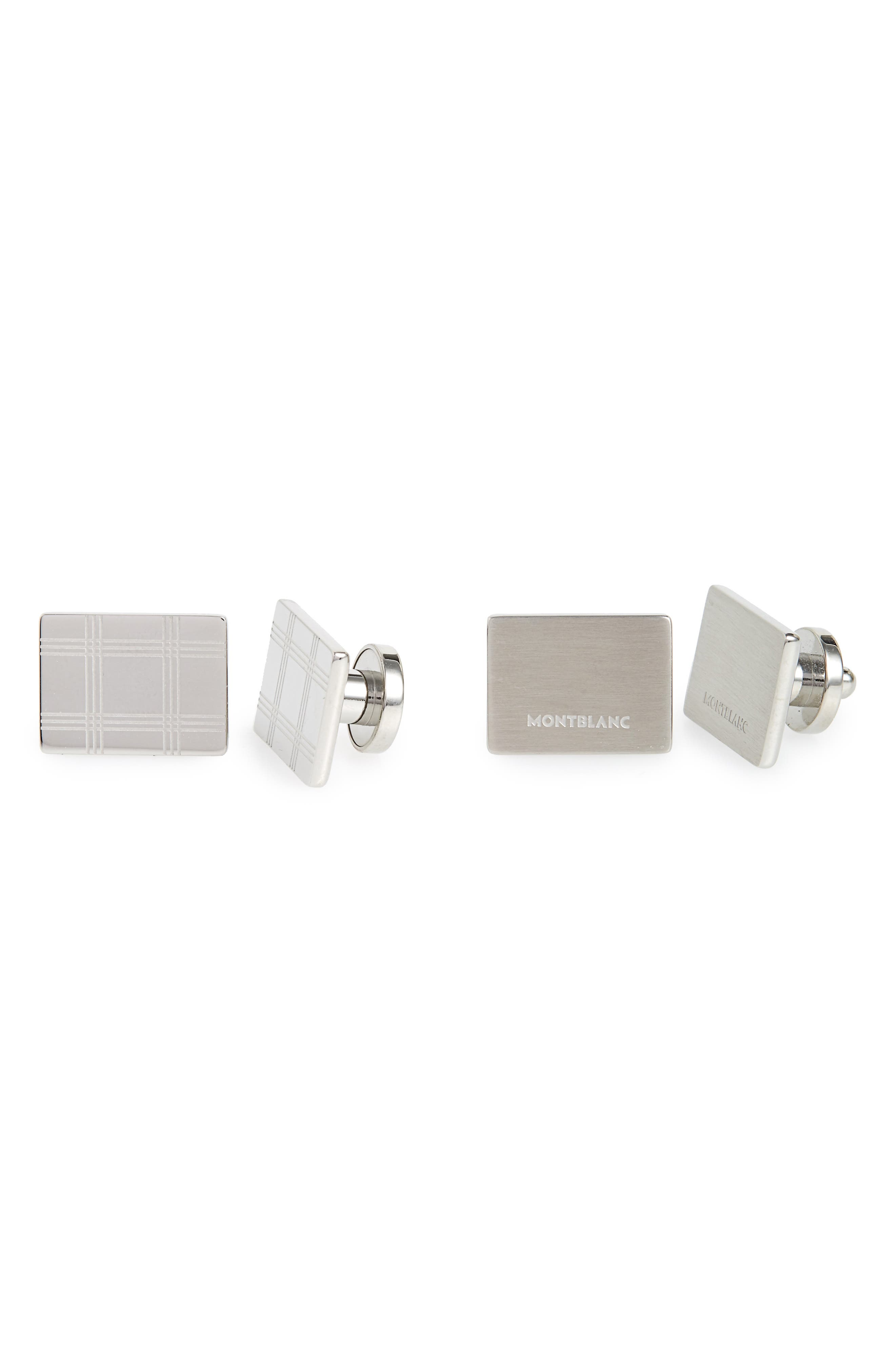 MONTBLANC Check Cuff Links, Main, color, STAINLESS STEEL