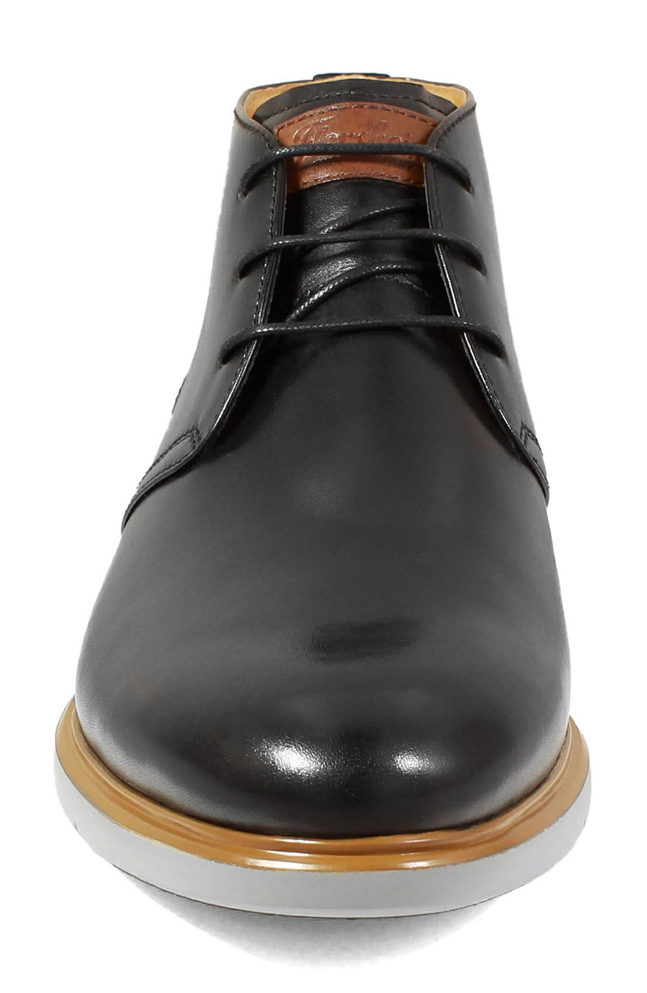 FLORSHEIM, Fuel Chukka Boot, Alternate thumbnail 4, color, BLACK LEATHER