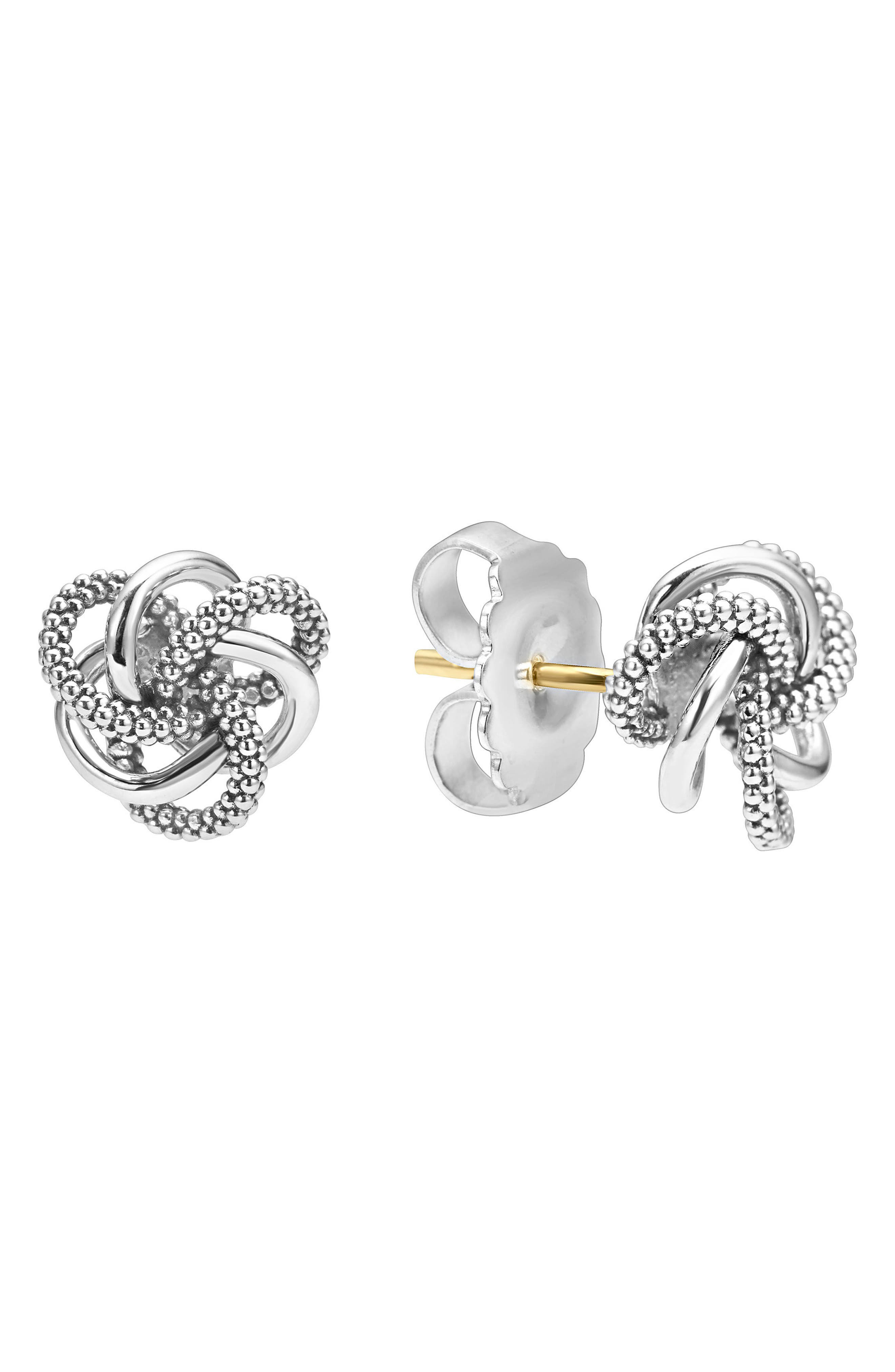 LAGOS, 'Love Knot' Sterling Silver Stud Earrings, Alternate thumbnail 2, color, STERLING SILVER
