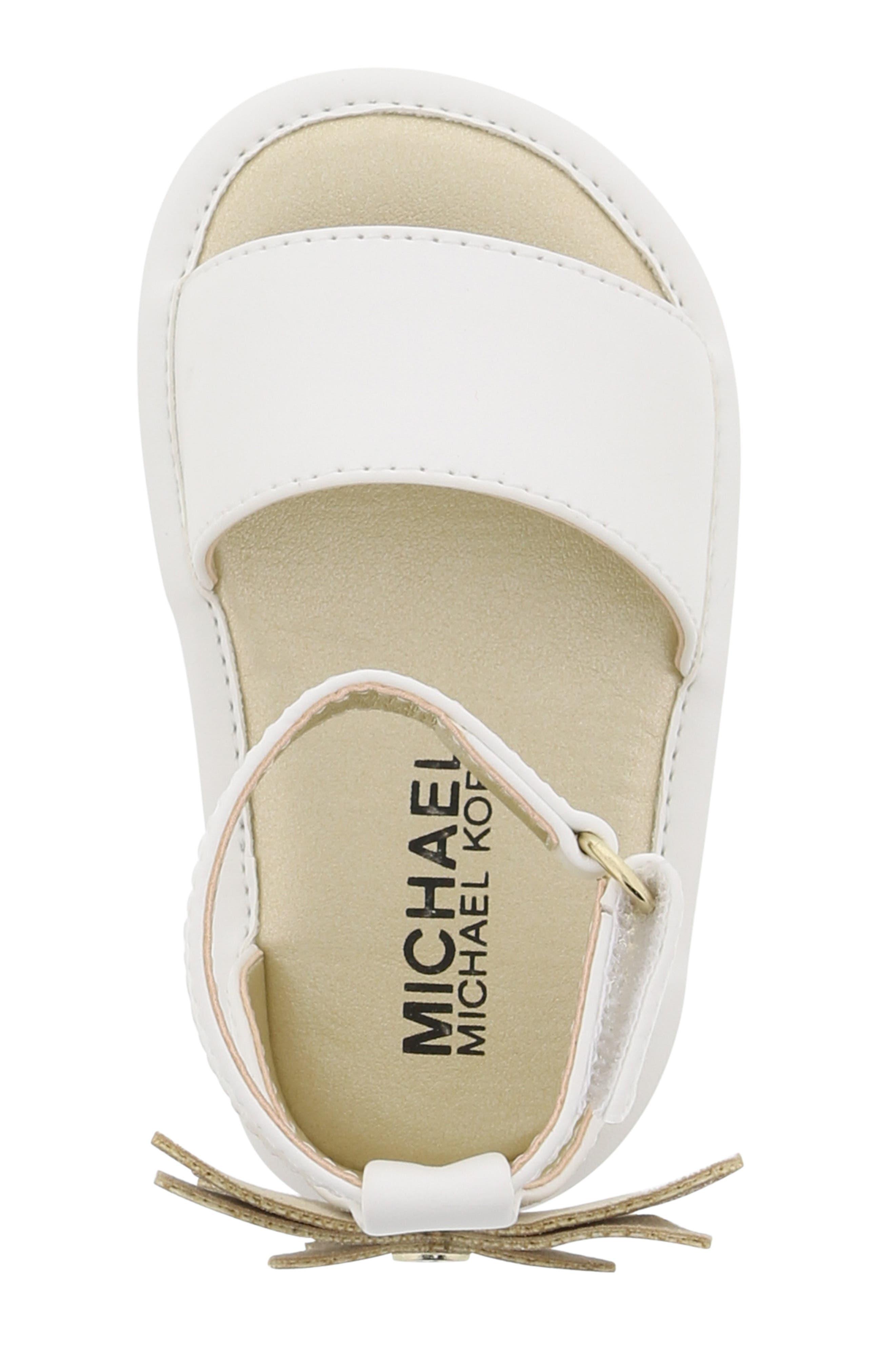 MICHAEL MICHAEL KORS, Tilly Sansa Glitter Sandal, Alternate thumbnail 5, color, WHITE