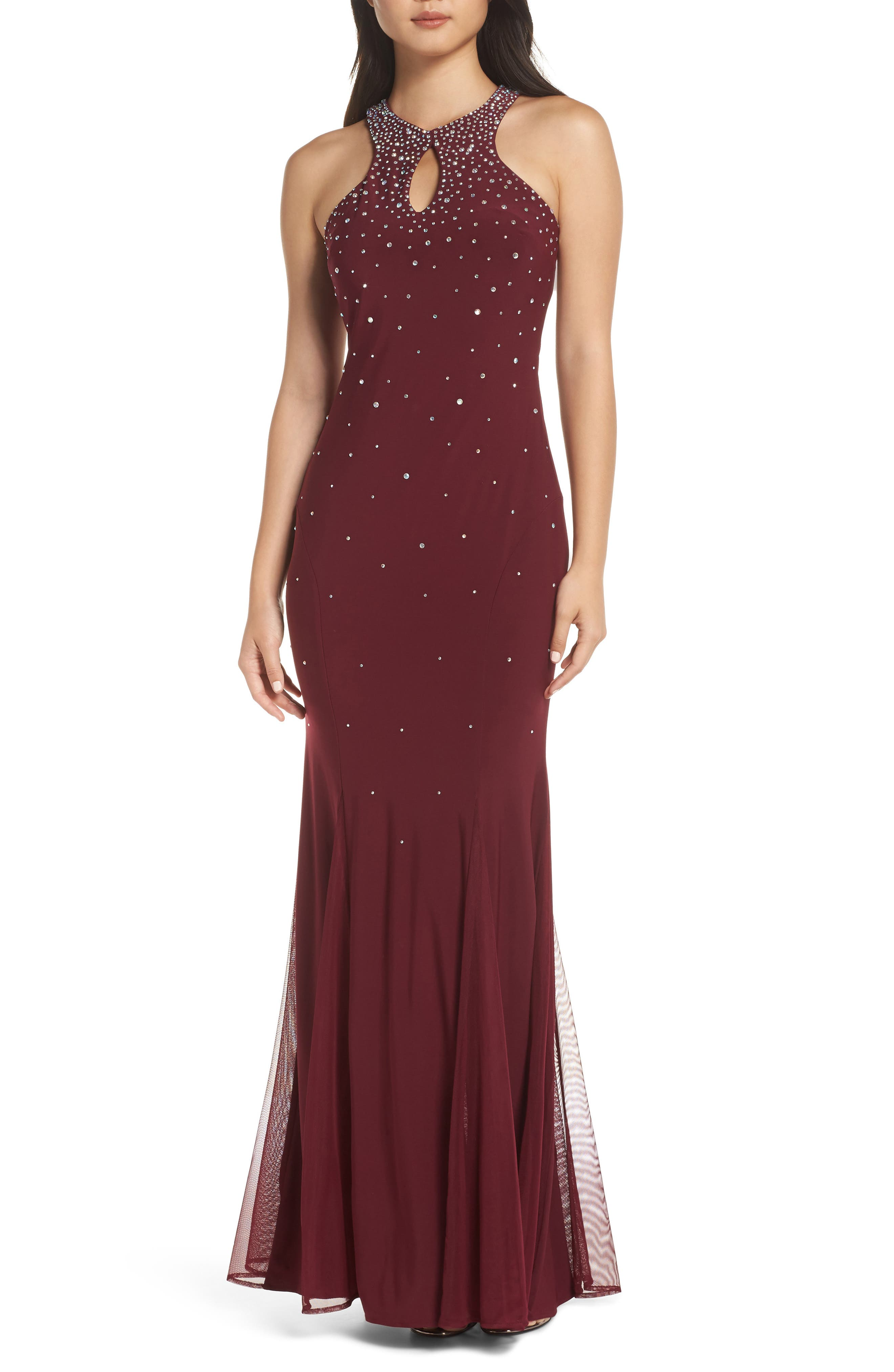 Morgan & Co. Embellished Keyhole Trumpet Gown, Red