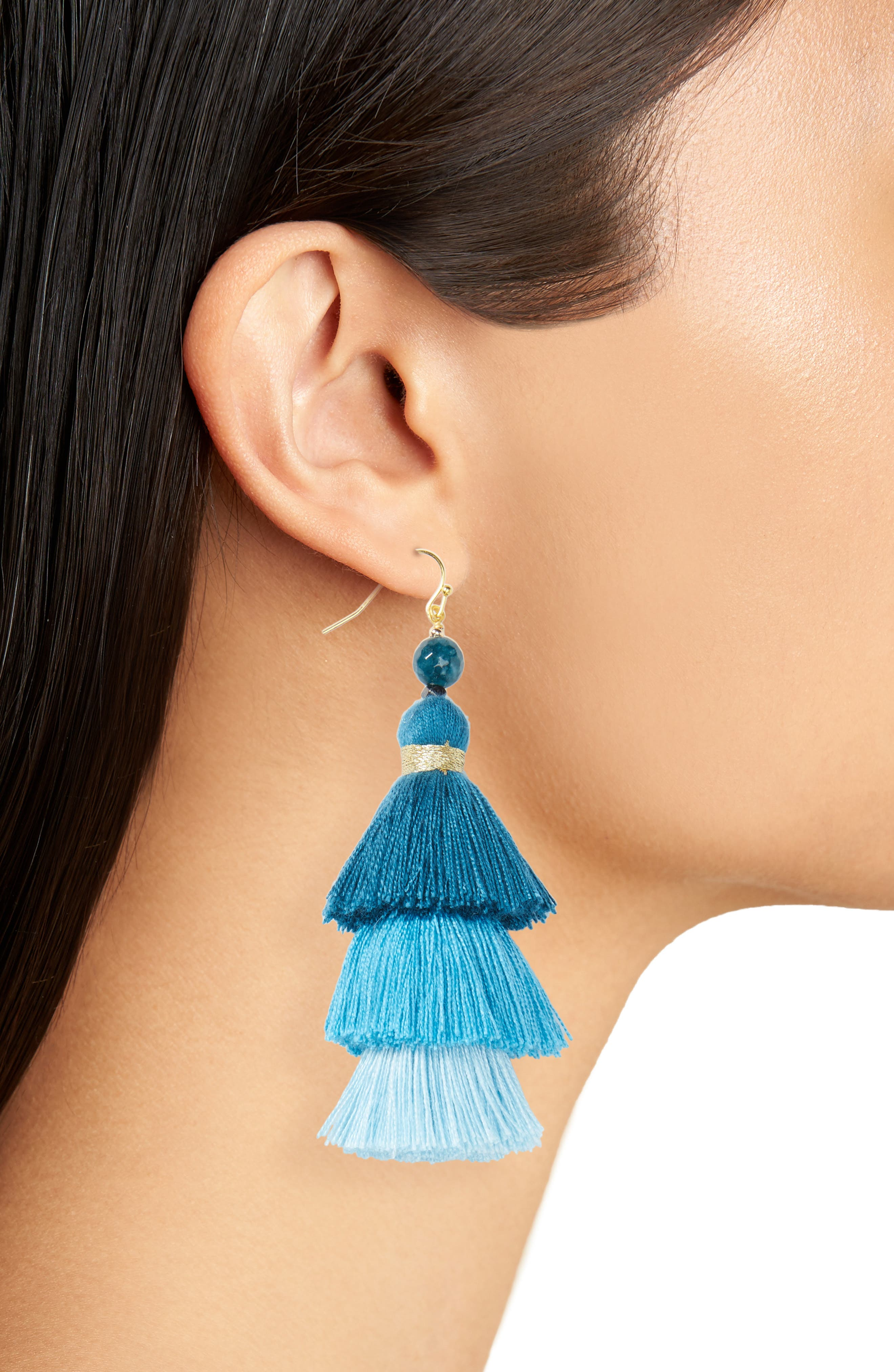 NAKAMOL DESIGN, Layered Tassel Statement Earrings, Alternate thumbnail 2, color, 400