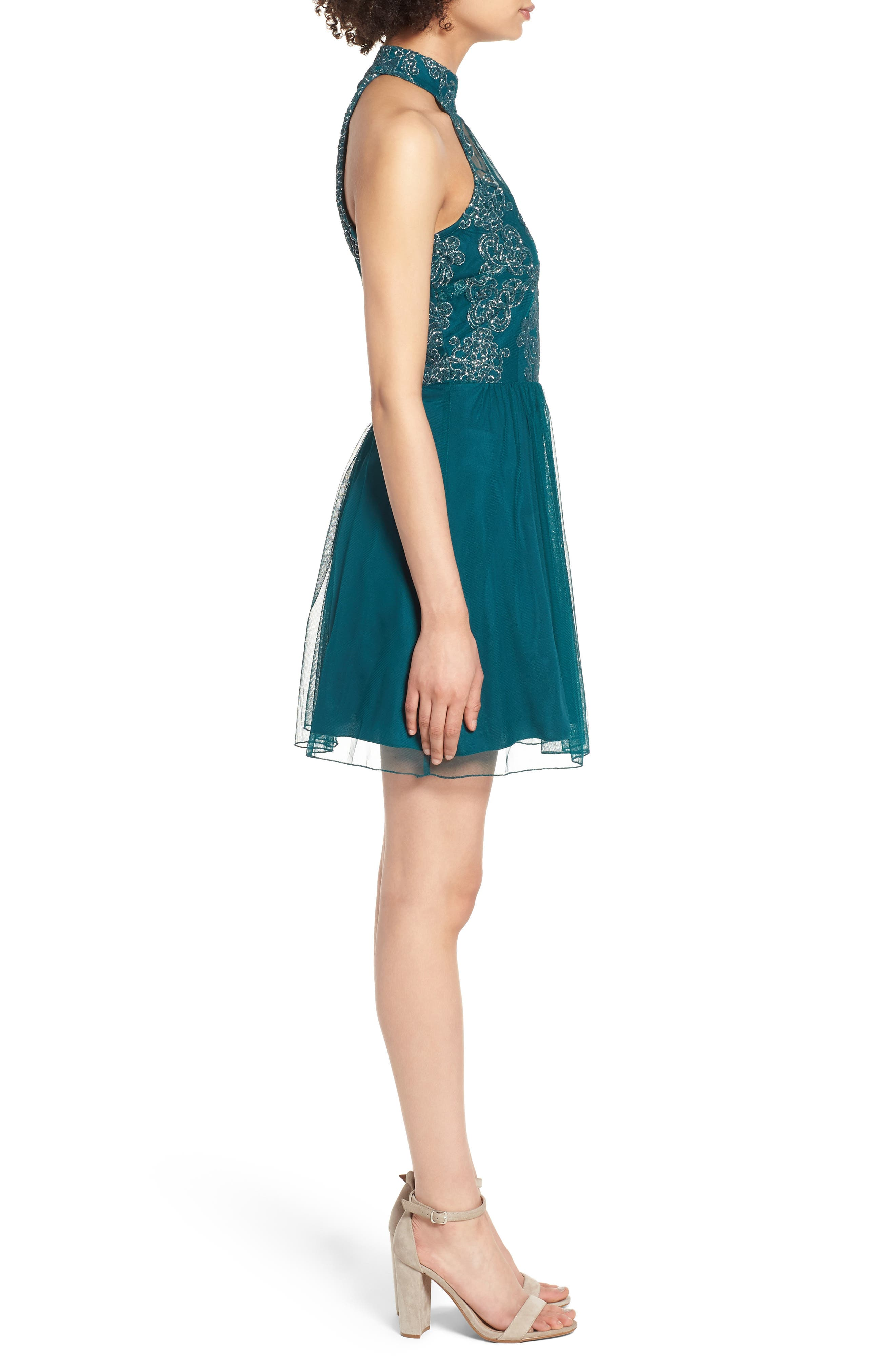 SPEECHLESS, Lace Fit & Flare Dress, Alternate thumbnail 4, color, EMERALD