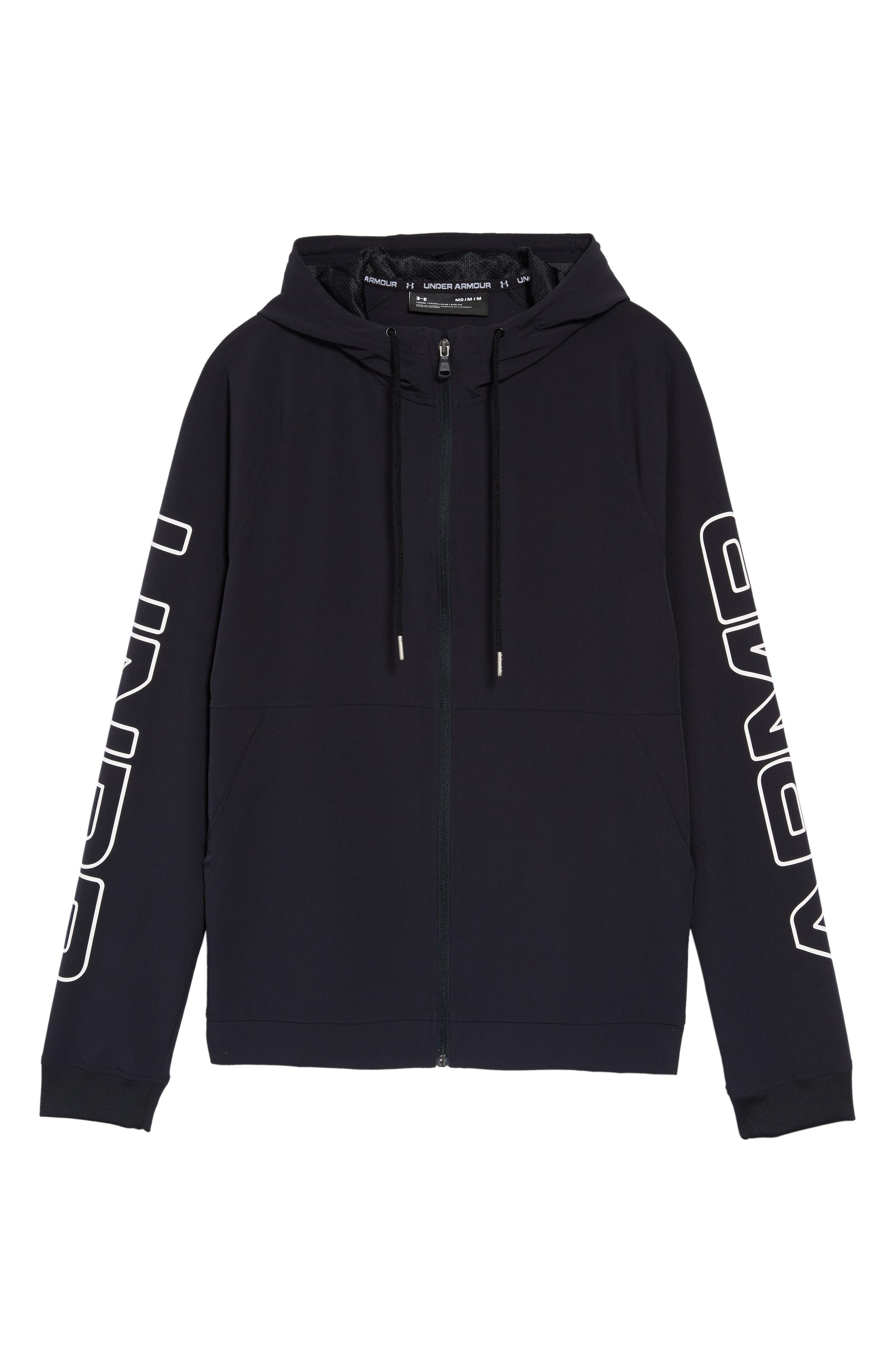 UNDER ARMOUR, Baseline Hooded Jacket, Alternate thumbnail 6, color, 001