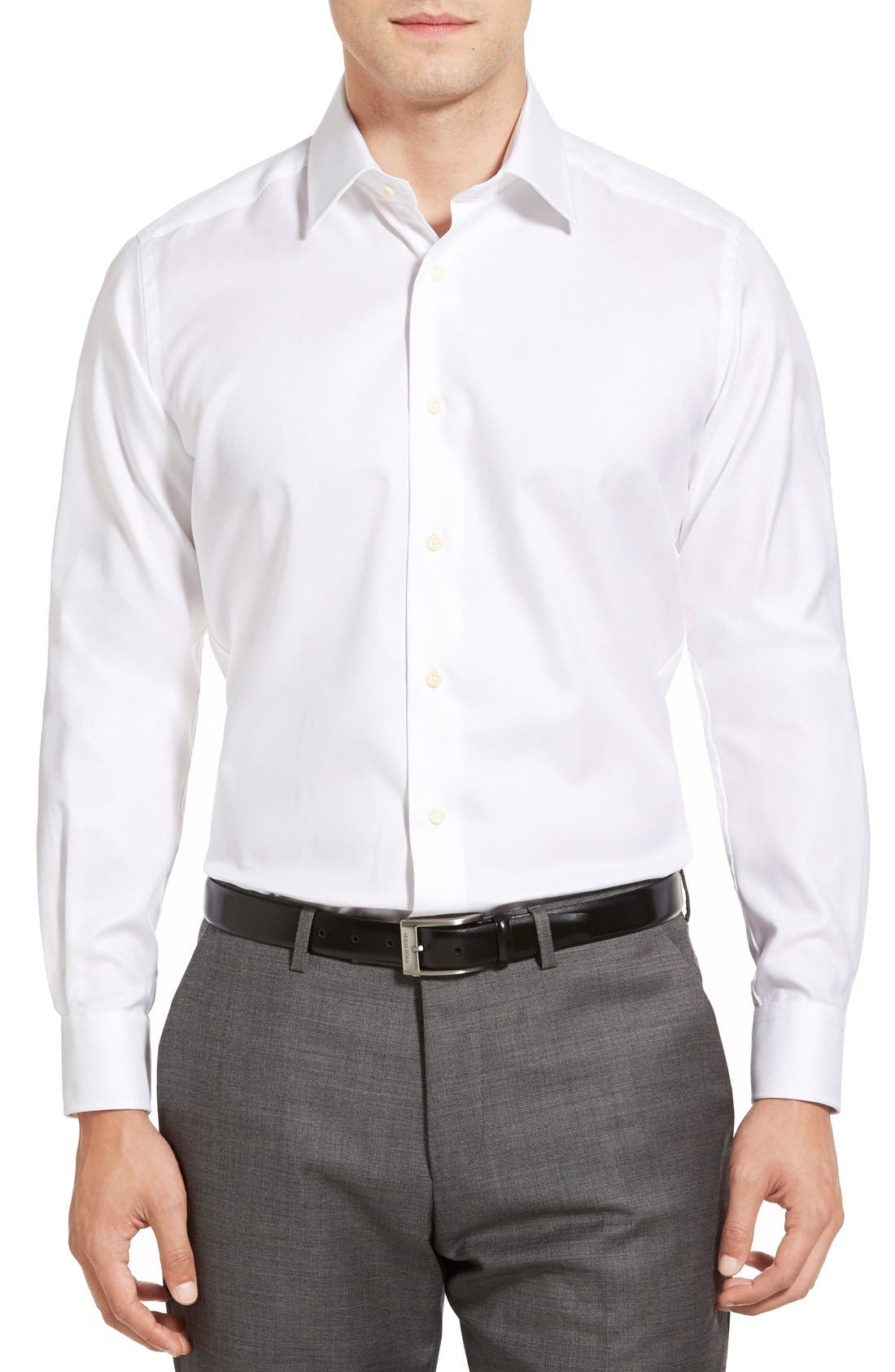 DAVID DONAHUE, Trim Fit Dress Shirt, Alternate thumbnail 5, color, WHITE