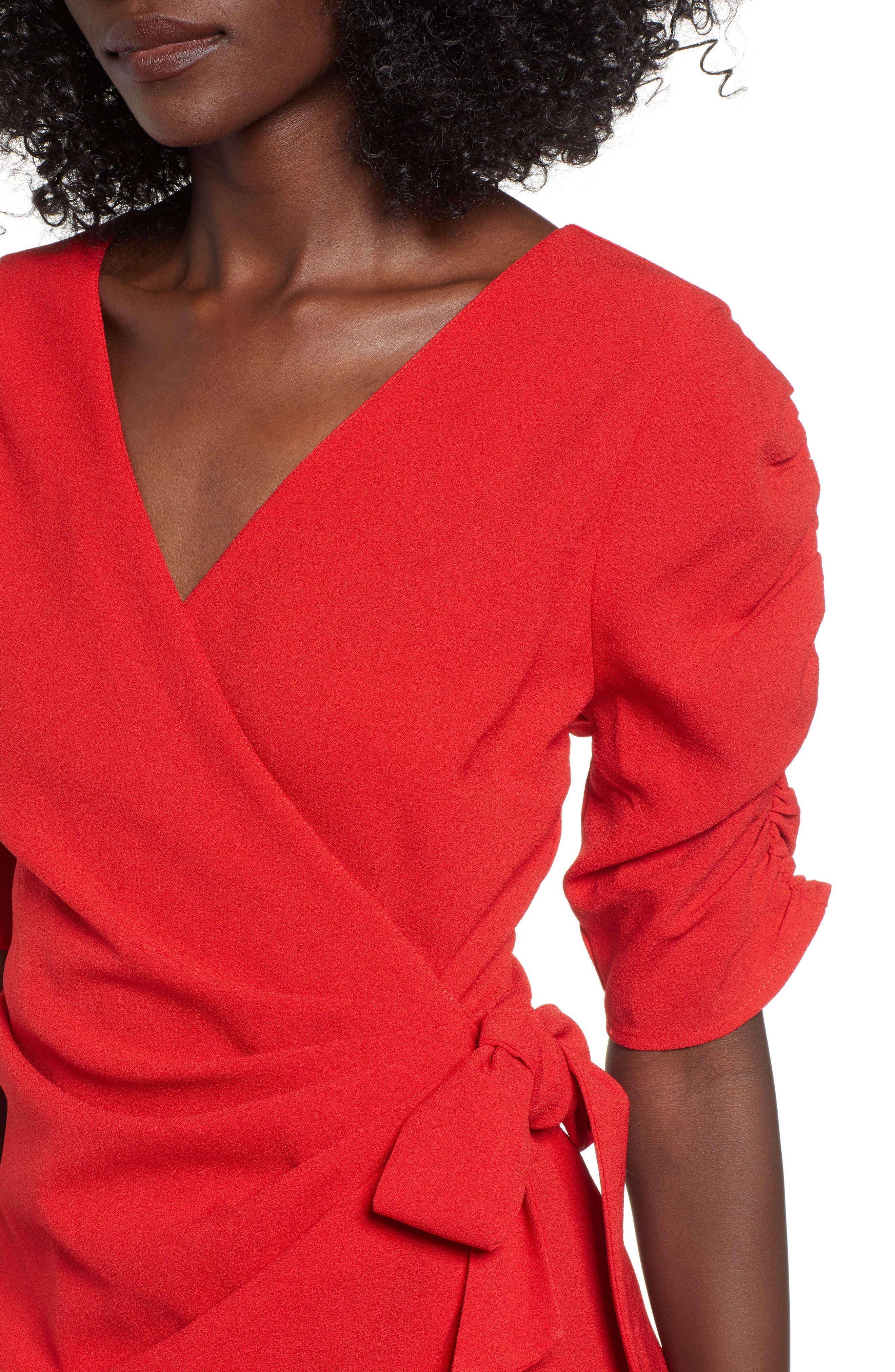 SPEECHLESS, Cinch Sleeve Faux Wrap Dress, Alternate thumbnail 5, color, 600