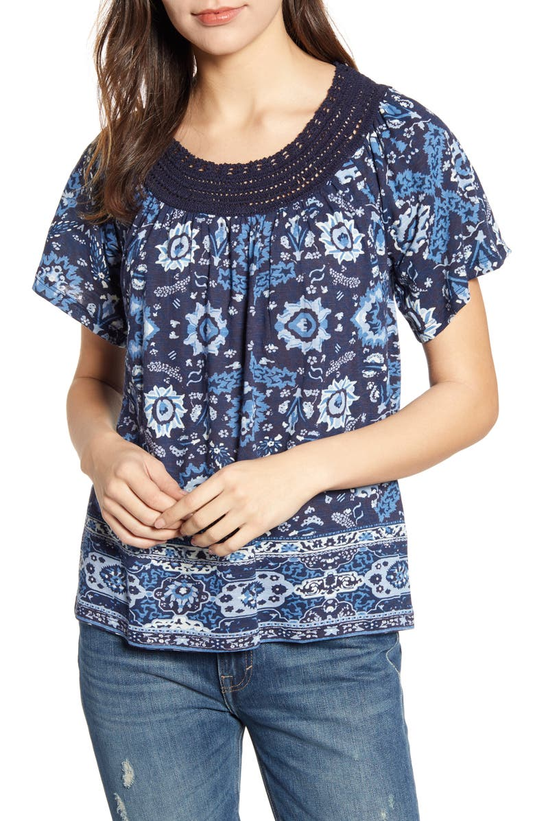 Lucky Brand Tops CROCHET NECK TOP