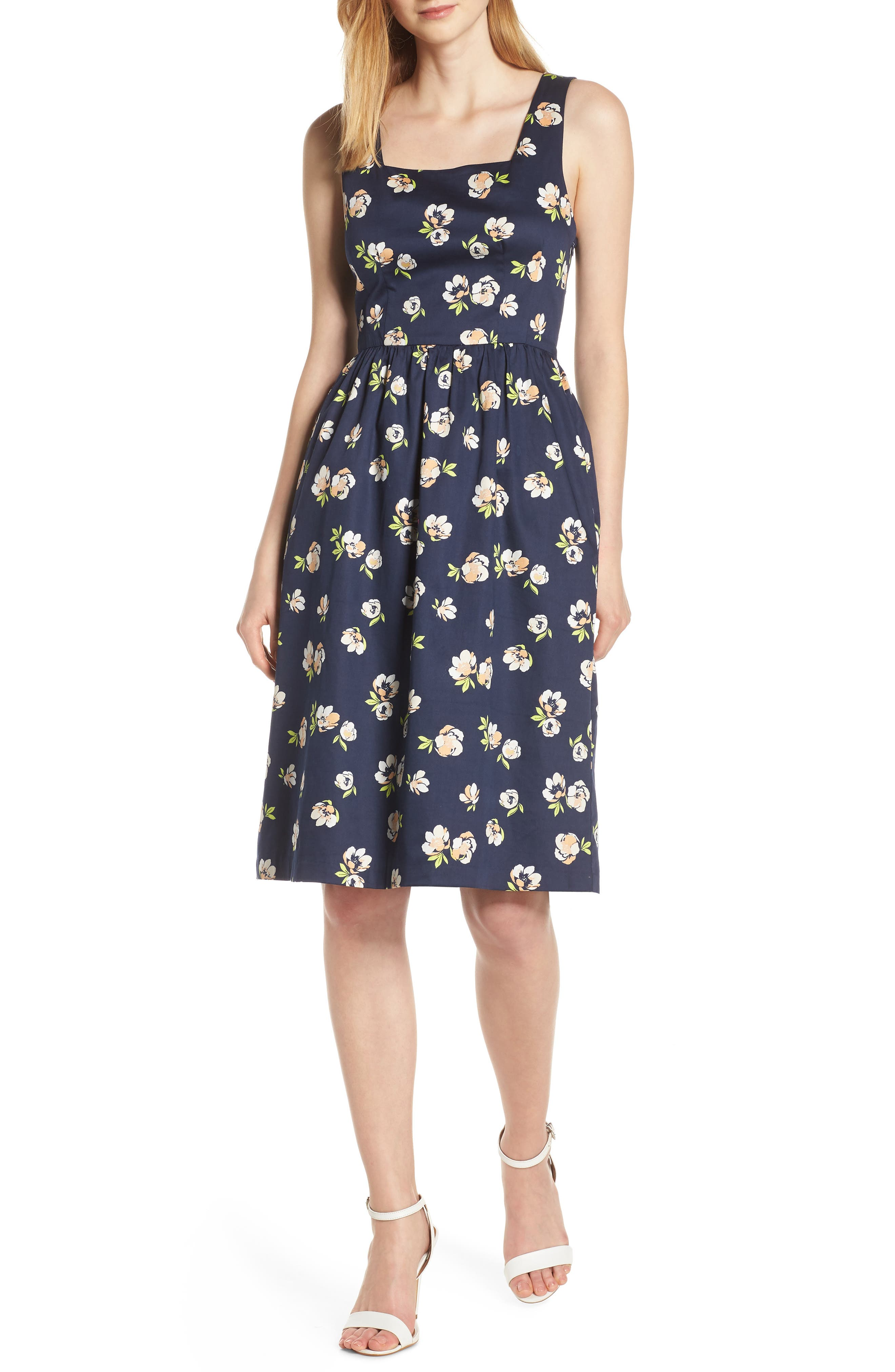 CHARLES HENRY, Sleeveless Fit & Flare Dress, Main thumbnail 1, color, NAVY PEACH FLORAL