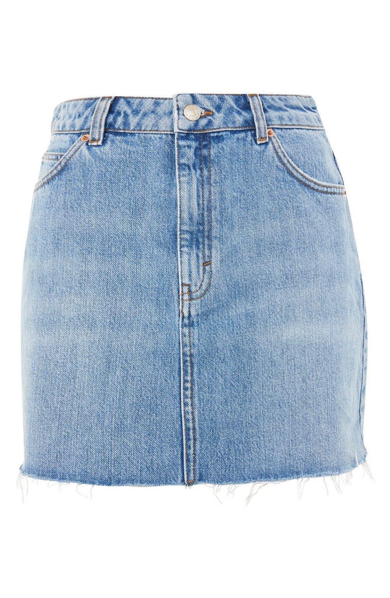 TOPSHOP, Denim Miniskirt, Alternate thumbnail 7, color, MID DENIM