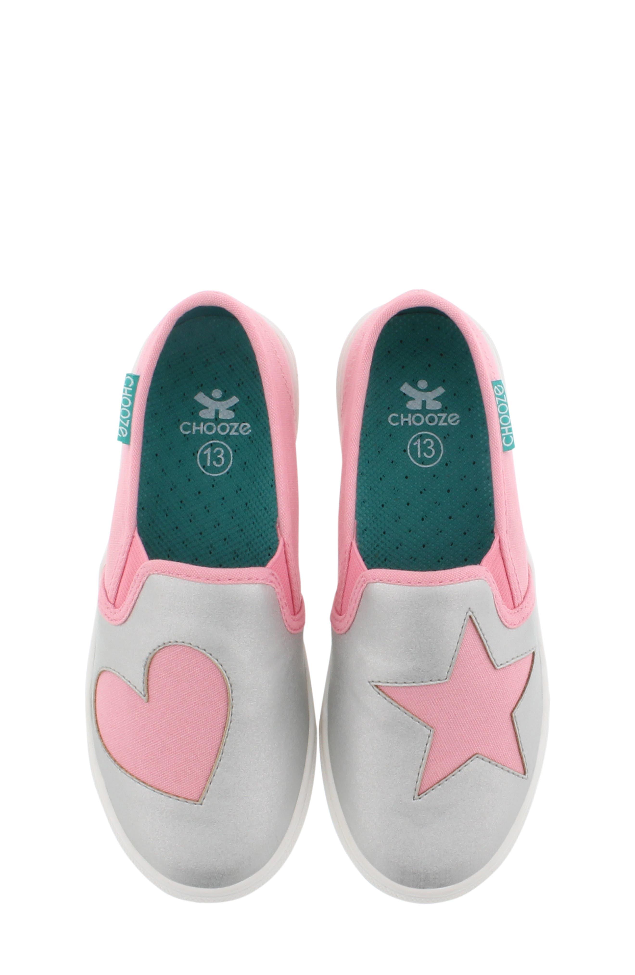 CHOOZE, Little Choice Starheart Slip-On Sneaker, Alternate thumbnail 5, color, SILVER