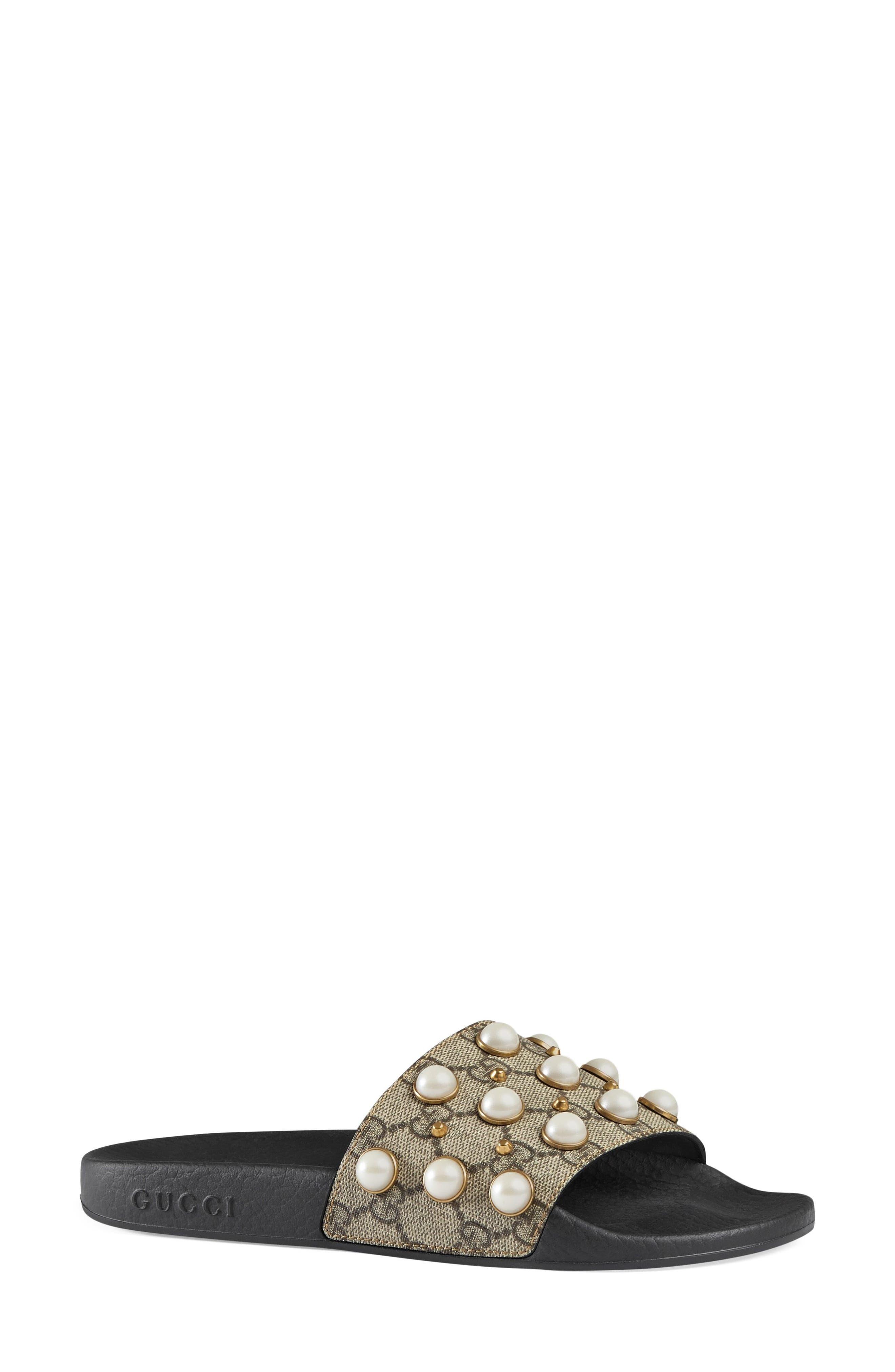 GUCCI, Pursuit Imitation Pearl Embellished Slide Sandal, Alternate thumbnail 2, color, BEIGE
