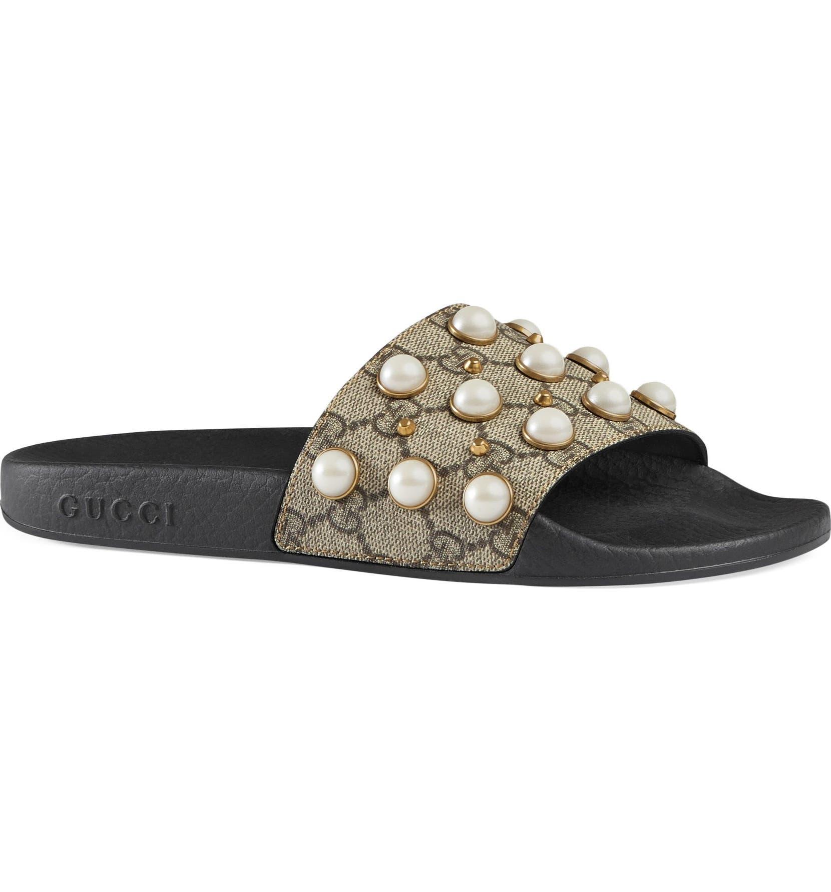 62ba761a8 Gucci Pursuit Imitation Pearl Embellished Slide Sandal (Women ...