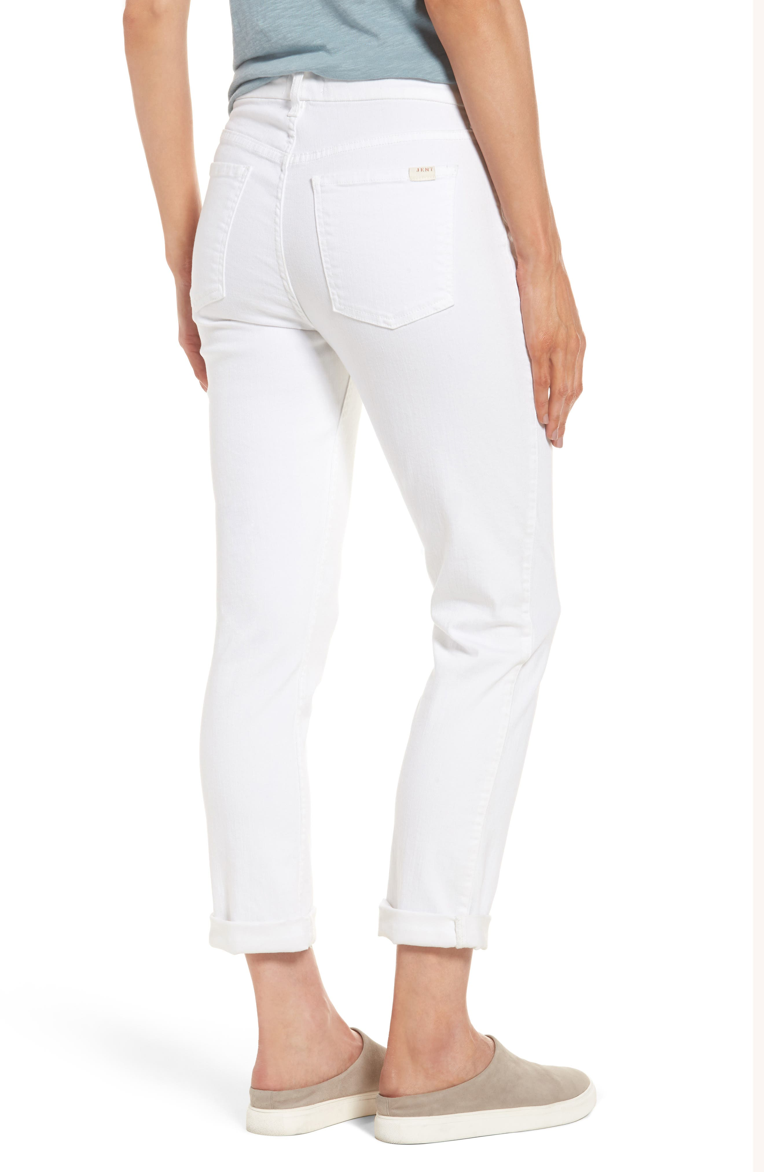 JEN7 BY 7 FOR ALL MANKIND, Stretch Straight Leg Crop Jeans, Alternate thumbnail 2, color, WHITE DENIM