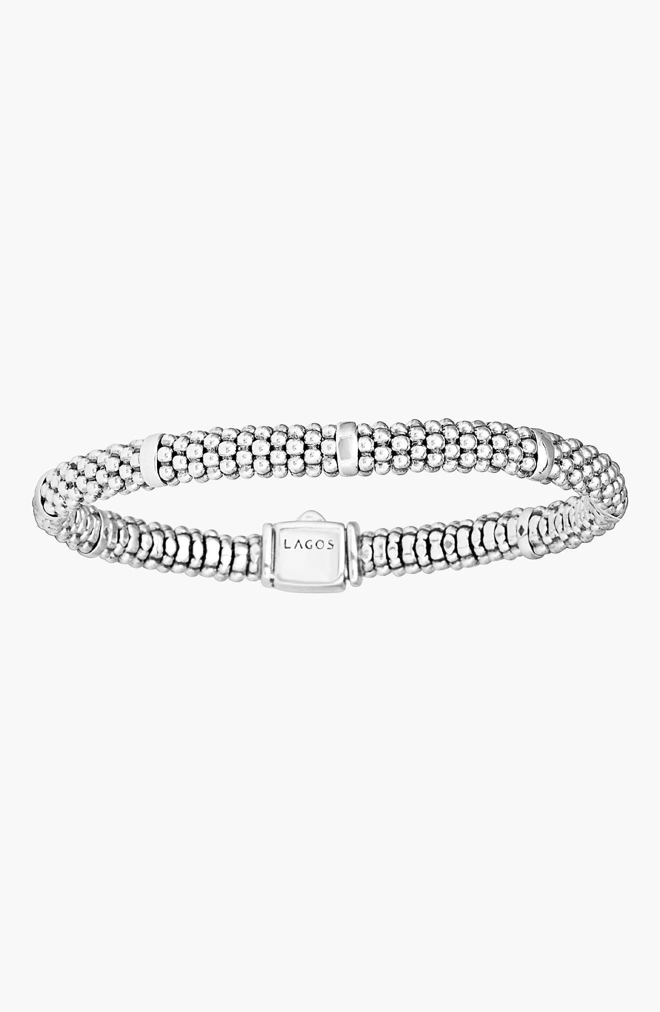 LAGOS, Caviar Rope Station Bracelet, Alternate thumbnail 7, color, STERLING SILVER