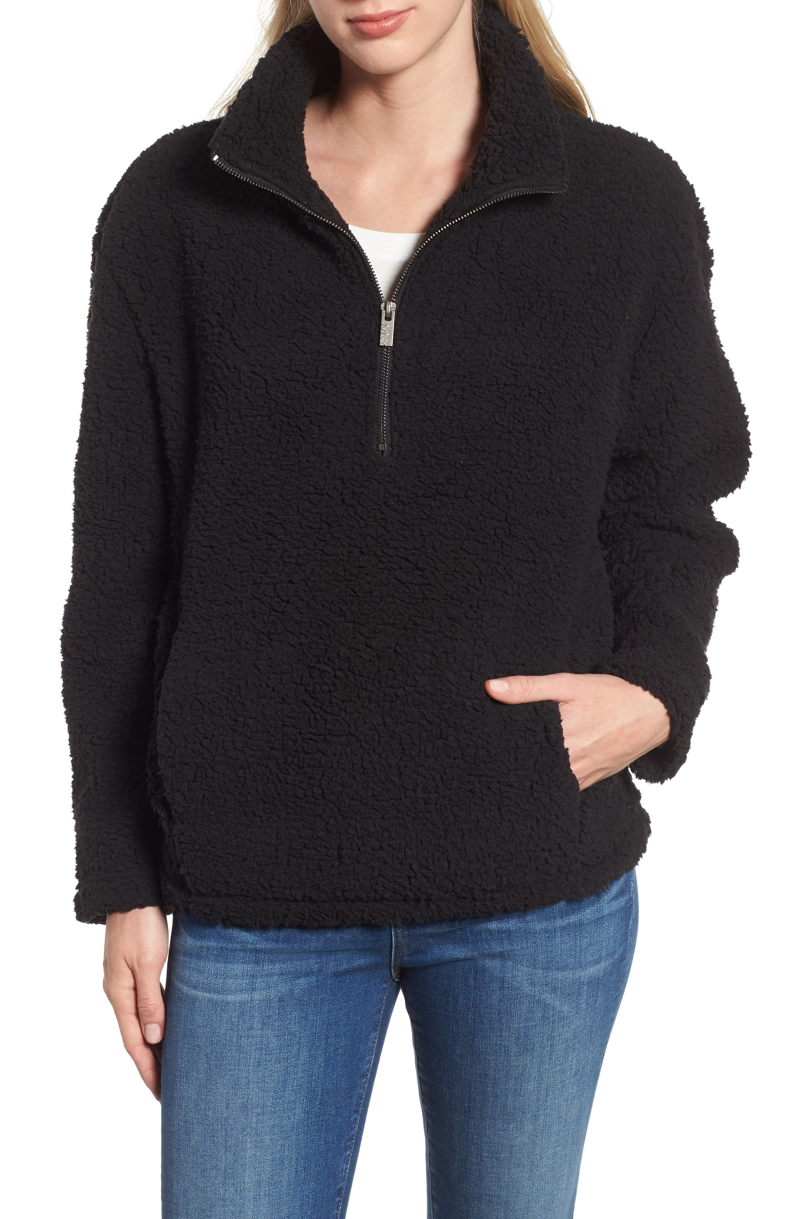 MARC NEW YORK, Teddy Faux Shearling Quarter Zip Jacket, Main thumbnail 1, color, BLACK