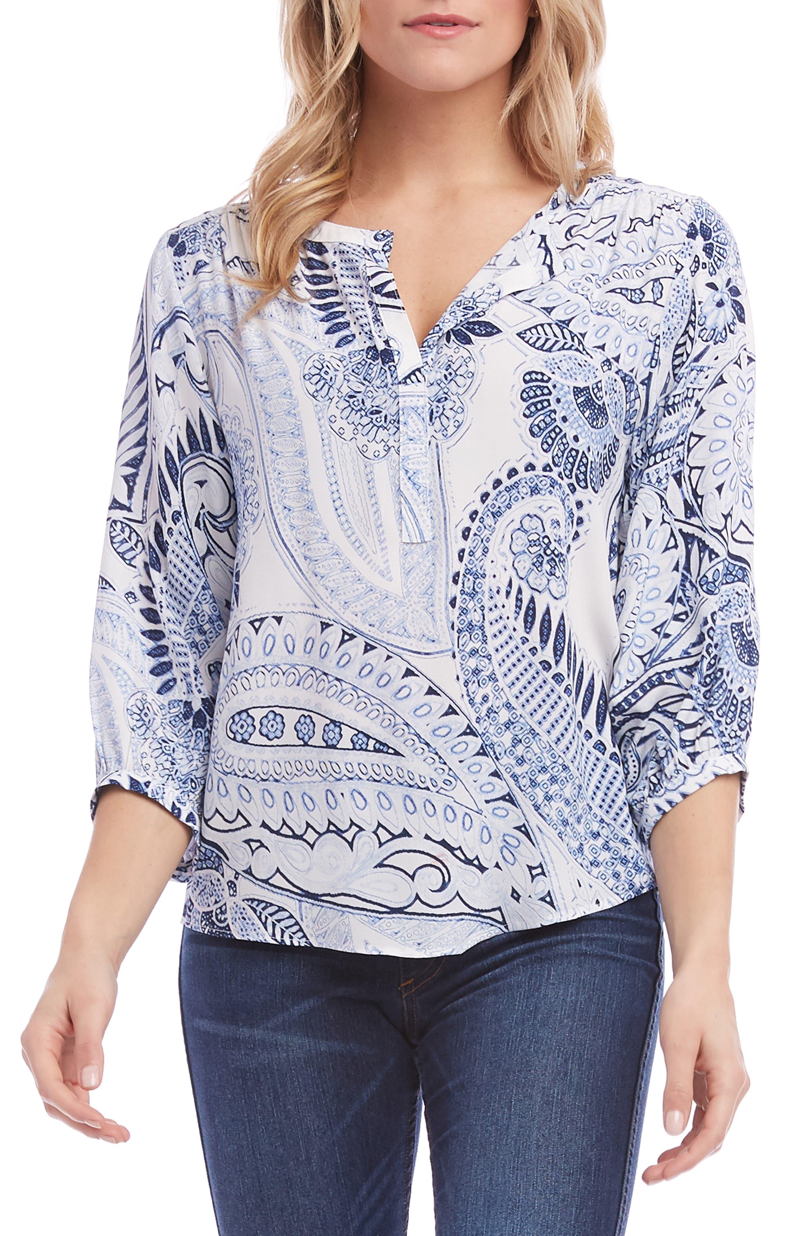 KAREN KANE Blouson Sleeve Top, Main, color, BLUE