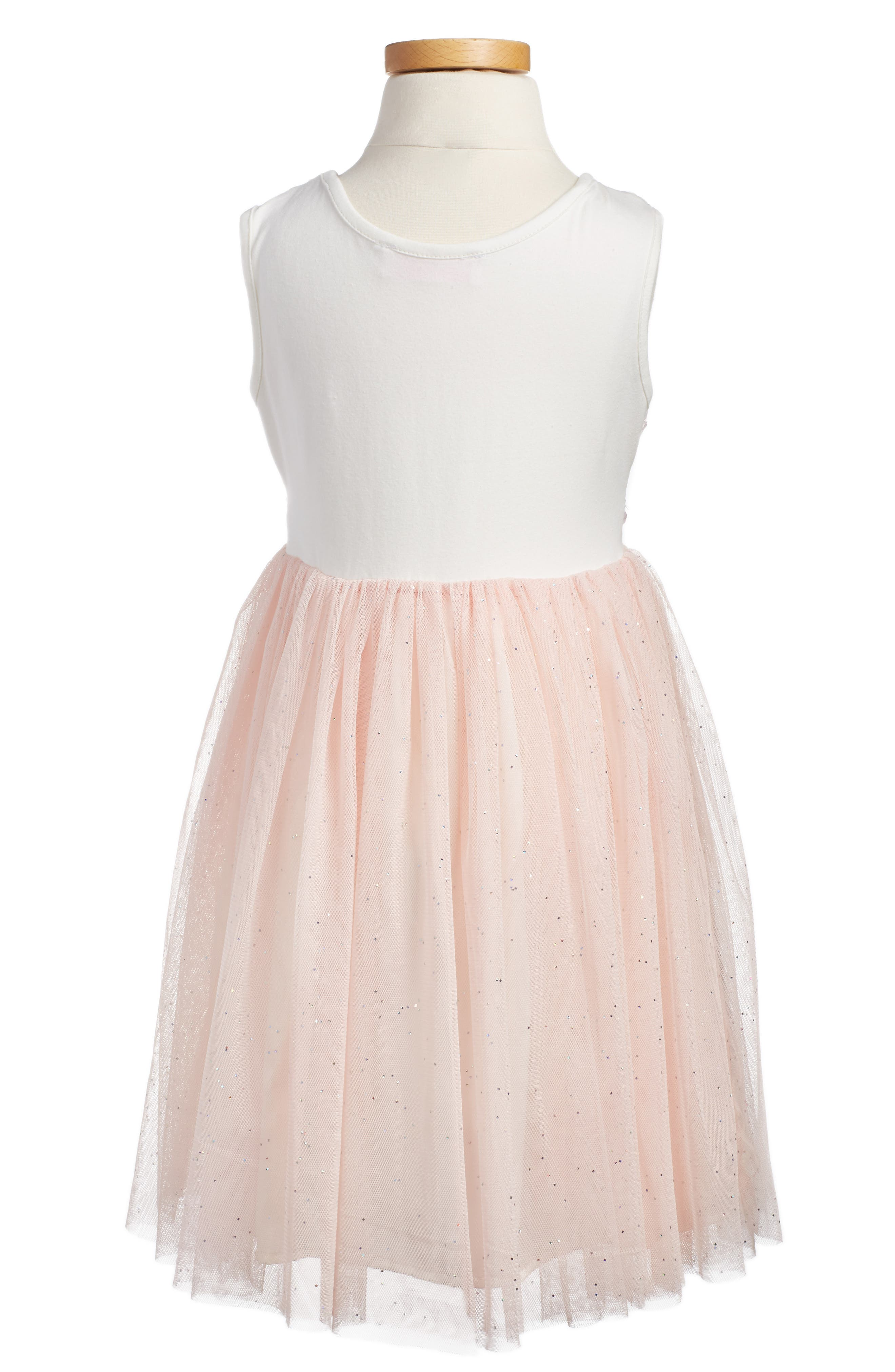 POPATU, Embroidered Tulle Dress, Alternate thumbnail 3, color, PEACH