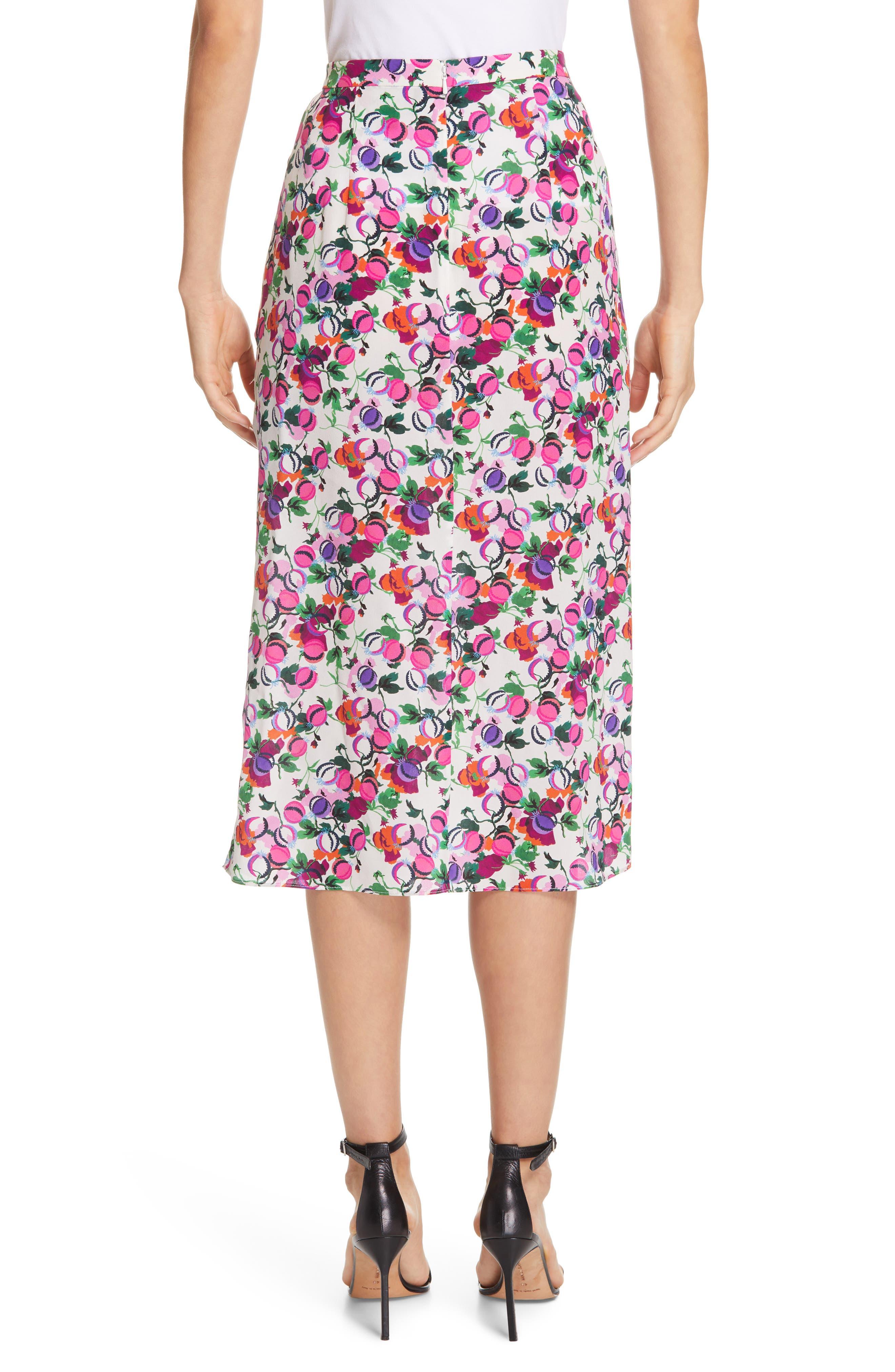 SALONI, Kelly Floral Print Silk Skirt, Alternate thumbnail 2, color, ROSE BOUNTY