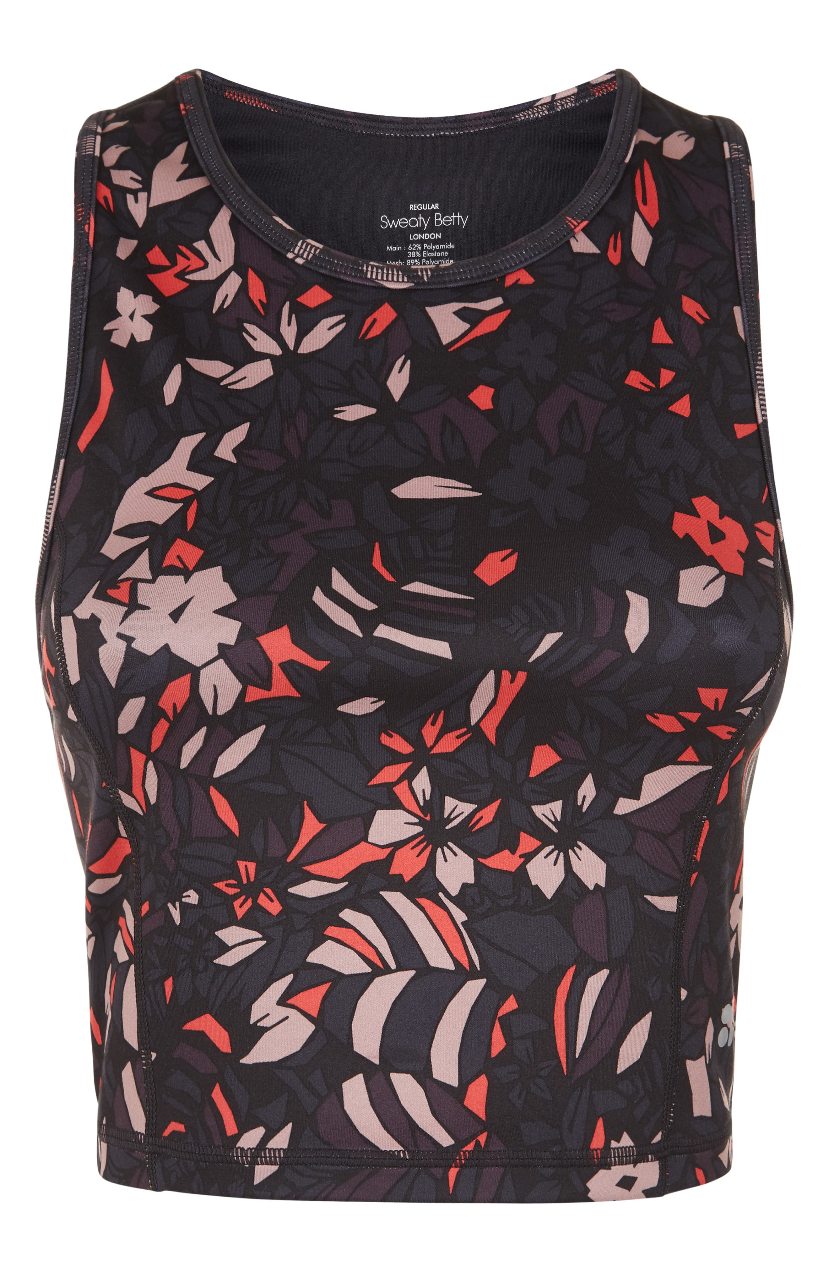 SWEATY BETTY, Paradise Yoga Crop Top, Alternate thumbnail 3, color, AUBERGINE GEO FLORAL