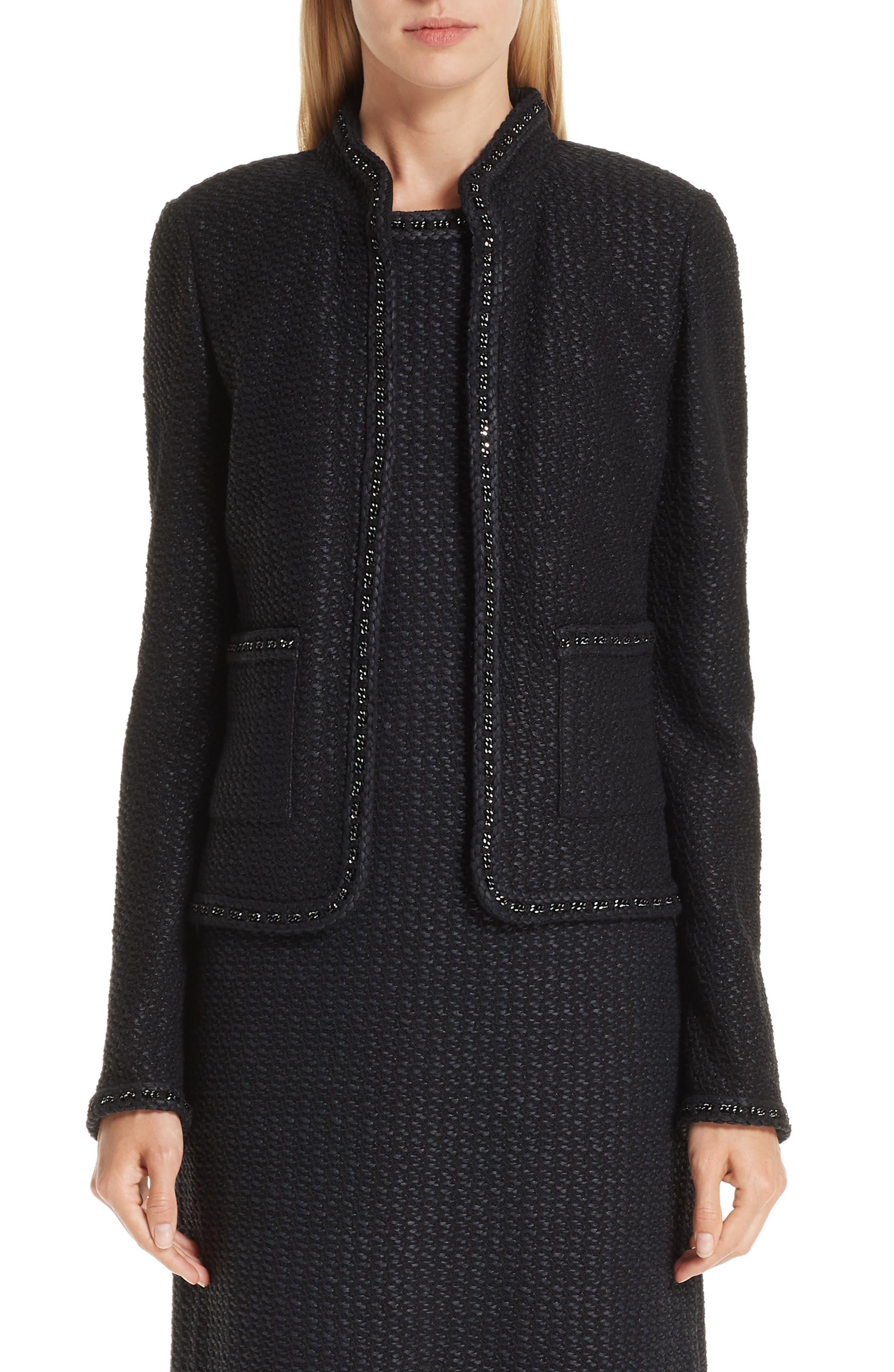 ST. JOHN COLLECTION, Adina Knit Short Jacket, Main thumbnail 1, color, CAVIAR