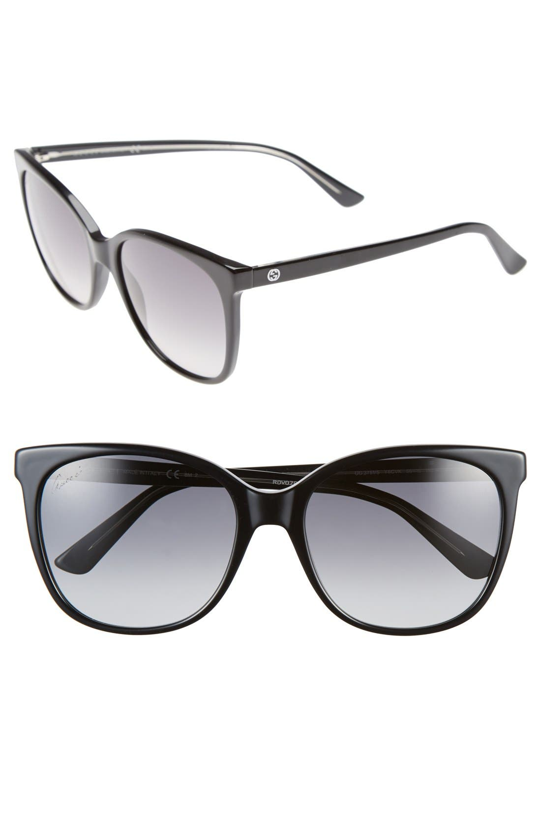 GUCCI 56mm Cat Eye Sunglasses, Main, color, 001